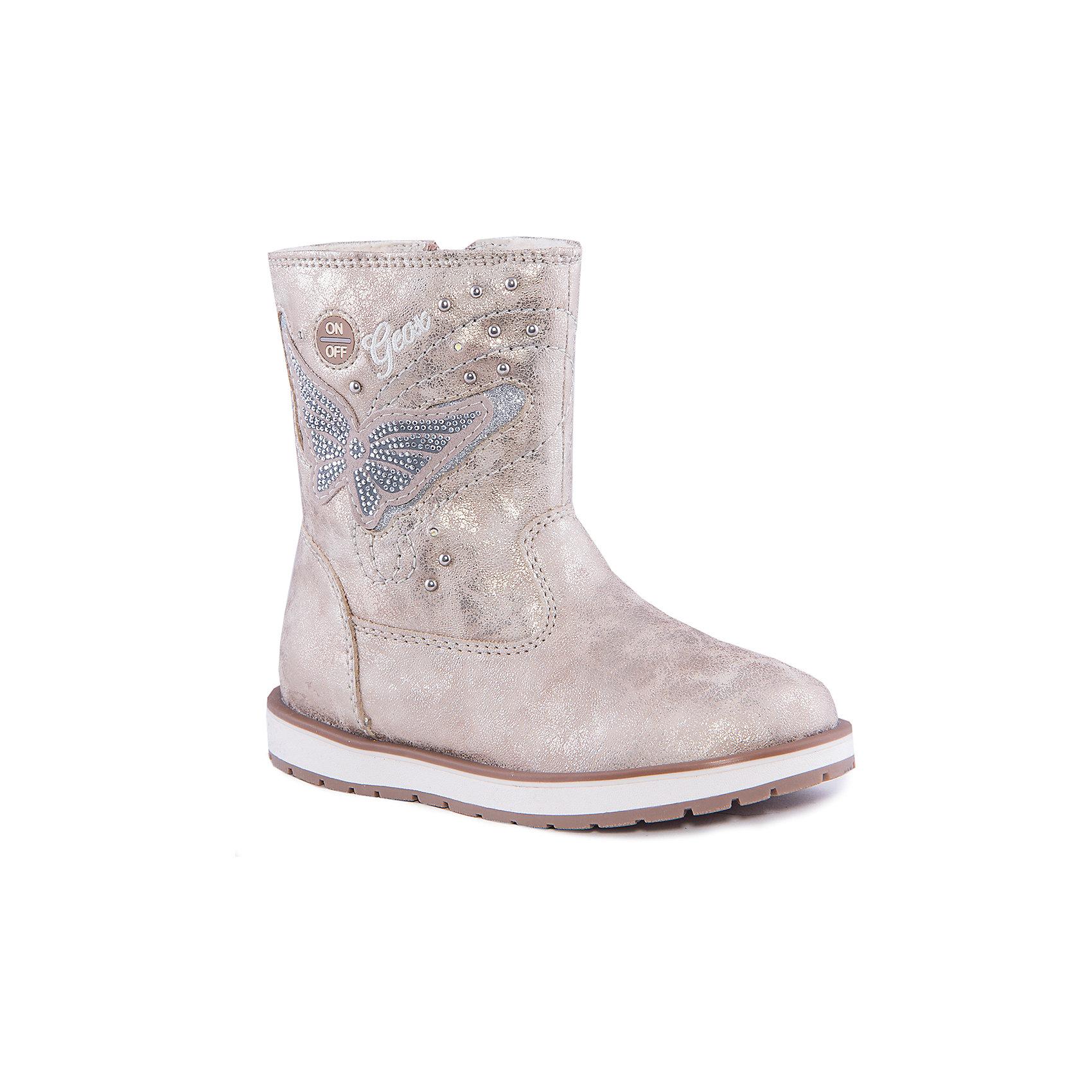 Полусапожки для девочки GEOXПолусапожки для девочки от популярной марки GEOX.<br><br>Очень красивые и стильные полусапожки сделаны из блестящего материала, украшены аппликацией в виде бабочки и стразами. Только для самых модных девочек!<br>Производитель обуви GEOX разработал специальную дышащую подошву, которая не пропускает влагу внутрь, а также высокотехнологичную стельку.<br><br>Отличительные особенности модели:<br><br>- цвет: бежевый;<br>- форма угги;<br>- гибкая водоотталкивающая подошва с дышащей мембраной;<br>- мягкий и легкий верх;<br>- защита пятки и пальцев;<br>- эргономичная форма;<br>- удобная застежка-молния сбоку, шнуровка;<br>- комфортное облегание;<br>- ударопрочная антибактериальная стелька;<br>- верх обуви и подкладка сделаны без использования хрома.<br><br>Дополнительная информация:<br><br>- Температурный режим: от -15° С  до +5° С.<br><br>- Состав:<br><br>материал верха: текстиль<br>материал подкладки: текстиль<br>подошва: полимер<br>Полусапожки для девочки GEOX (Геокс) можно купить в нашем магазине.<br><br>Ширина мм: 257<br>Глубина мм: 180<br>Высота мм: 130<br>Вес г: 420<br>Цвет: бежевый<br>Возраст от месяцев: 48<br>Возраст до месяцев: 60<br>Пол: Женский<br>Возраст: Детский<br>Размер: 31,28,34,30,32,33,35,29<br>SKU: 4178789