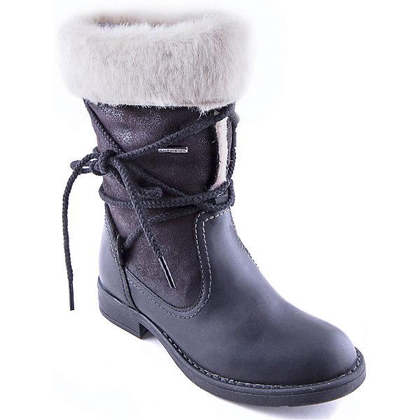 Сапоги для девочки GEOXСапоги<br>Сапоги для девочки от популярной марки GEOX.<br><br>Оригинальные сапоги сделаны по уникальной технологии. <br>Производитель обуви GEOX разработал специальную дышащую подошву, которая не пропускает влагу внутрь, а также высокотехнологичную стельку. При производстве этих полусапожек была задействована технология Amphibiox, делающая обувь непромокаемой. <br><br>Отличительные особенности модели:<br><br>- цвет: черный;<br>- украшены необычной шнуровкой и меховыми отворотами;<br>- гибкая водоотталкивающая подошва с дышащей мембраной;<br>- утепленная стелька;<br>- мягкий и легкий верх;<br>- защита пятки и пальцев;<br>- эргономичная форма;<br>- удобная застежка-молния сбоку;<br>- комфортное облегание;<br>- ударопрочная антибактериальная стелька;<br>- защита от промокания - технология Amphibiox;<br>- верх обуви и подкладка сделаны без использования хрома.<br><br>Дополнительная информация:<br><br>- Температурный режим: от - 20° С  до -5° С.<br><br>- Состав:<br><br>материал верха: искусственная кожа, синтетический материал<br>материал подкладки: искусственный мех<br>подошва: полимер<br><br>Сапоги для девочки GEOX (Геокс) можно купить в нашем магазине.<br><br>Ширина мм: 257<br>Глубина мм: 180<br>Высота мм: 130<br>Вес г: 420<br>Цвет: черный<br>Возраст от месяцев: 108<br>Возраст до месяцев: 120<br>Пол: Женский<br>Возраст: Детский<br>Размер: 33,32,31,36,38,35,39,37,34<br>SKU: 4178834