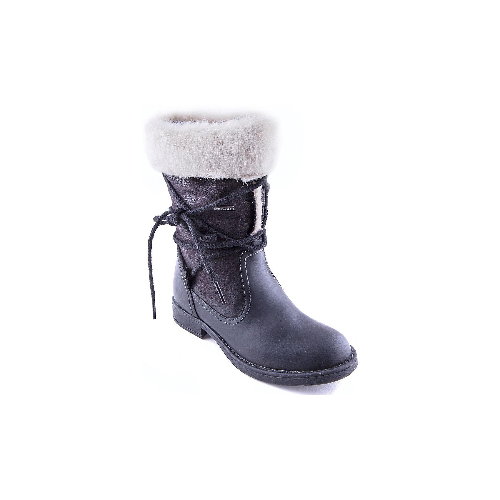 Сапоги для девочки GEOXСапоги<br>Сапоги для девочки от популярной марки GEOX.<br><br>Оригинальные сапоги сделаны по уникальной технологии. <br>Производитель обуви GEOX разработал специальную дышащую подошву, которая не пропускает влагу внутрь, а также высокотехнологичную стельку. При производстве этих полусапожек была задействована технология Amphibiox, делающая обувь непромокаемой. <br><br>Отличительные особенности модели:<br><br>- цвет: черный;<br>- украшены необычной шнуровкой и меховыми отворотами;<br>- гибкая водоотталкивающая подошва с дышащей мембраной;<br>- утепленная стелька;<br>- мягкий и легкий верх;<br>- защита пятки и пальцев;<br>- эргономичная форма;<br>- удобная застежка-молния сбоку;<br>- комфортное облегание;<br>- ударопрочная антибактериальная стелька;<br>- защита от промокания - технология Amphibiox;<br>- верх обуви и подкладка сделаны без использования хрома.<br><br>Дополнительная информация:<br><br>- Температурный режим: от - 20° С  до -5° С.<br><br>- Состав:<br><br>материал верха: искусственная кожа, синтетический материал<br>материал подкладки: искусственный мех<br>подошва: полимер<br><br>Сапоги для девочки GEOX (Геокс) можно купить в нашем магазине.<br><br>Ширина мм: 257<br>Глубина мм: 180<br>Высота мм: 130<br>Вес г: 420<br>Цвет: черный<br>Возраст от месяцев: 108<br>Возраст до месяцев: 120<br>Пол: Женский<br>Возраст: Детский<br>Размер: 31,32,34,37,39,33,35,38,36<br>SKU: 4178834