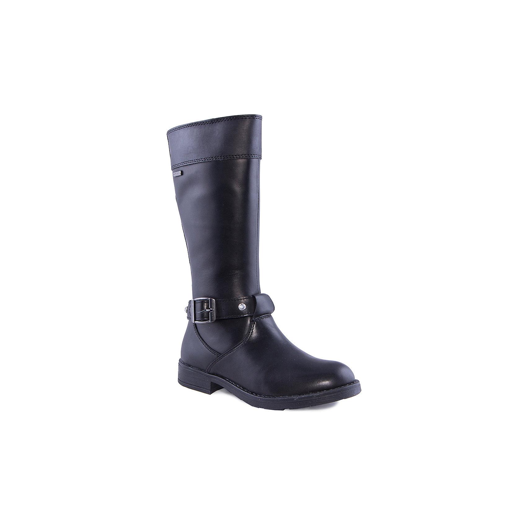Сапоги для девочки GEOXСапоги для девочки от популярной марки GEOX.<br><br>Черные стильные сапоги - удобная обувь для межсезонья.<br>Производитель обуви GEOX разработал специальную дышащую подошву, которая не пропускает влагу внутрь, а также высокотехнологичную стельку.<br><br>Отличительные особенности модели:<br><br>- цвет: черный;<br>- застежка-молния сбоку;<br>- украшены пряжкой со стразами;<br>- небольшой каблук;<br>- высокое голенище;<br>- гибкая водоотталкивающая подошва с дышащей мембраной;<br>- мягкий и легкий верх;<br>- защита пятки и пальцев;<br>- эргономичная форма;<br>- удобная застежка-молния сбоку;<br>- комфортное облегание;<br>- ударопрочная антибактериальная стелька;<br>- верх обуви и подкладка сделаны без использования хрома.<br><br>Дополнительная информация:<br><br>- Температурный режим: от 0° С  до 15° С.<br><br>- Состав:<br><br>материал верха: синтетика / кожа<br>материал подкладки: текстиль / кожа<br>подошва: полимер<br><br>Сапоги для девочки GEOX (Геокс) можно купить в нашем магазине.<br><br>Ширина мм: 257<br>Глубина мм: 180<br>Высота мм: 130<br>Вес г: 420<br>Цвет: черный<br>Возраст от месяцев: 156<br>Возраст до месяцев: 168<br>Пол: Женский<br>Возраст: Детский<br>Размер: 33,34,32,38,39,36,35,37,31<br>SKU: 4178844