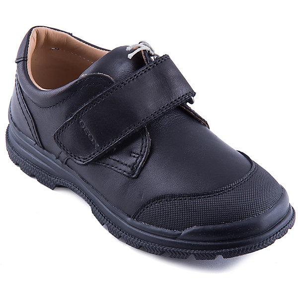 Полуботиник для мальчика GEOXОбувь<br>Полуботинки для мальчика от известного бренда GEOX обязательно понравятся юным модникам. Ботинки имеют специальную дышащую систему вентиляции, обеспечивающую постоянную циркуляцию воздуха, не допускающую промокания обуви. Модель черного цвета имеет рифленую подошву, прекрасно сочетается с любыми предметами гардероба, застегивается на липучку.  <br><br>Дополнительная информация:<br><br>- Тип застежки: липучка. <br>- Цвет: черный.<br>- Сезон: осень/весна. <br>- Температурный режим: от 10?до 20?.<br><br>Состав:<br>- Верх: натуральная кожа.<br>- Подкладка: натуральная кожа.<br>- Подошва: резина.<br>- Стелька: натуральная кожа.<br><br>Ботинки для мальчика GEOX (Геокс), можно купить в нашем магазине.<br><br>Ширина мм: 227<br>Глубина мм: 145<br>Высота мм: 124<br>Вес г: 325<br>Цвет: черный<br>Возраст от месяцев: 156<br>Возраст до месяцев: 168<br>Пол: Мужской<br>Возраст: Детский<br>Размер: 37,30,29,28,39,38,36,35,31,34,33,32<br>SKU: 4178975