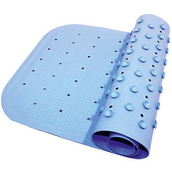 Антискользящий коврик для ванны 34,5х76 см, голубойДетские коврики для ванны<br>Антискользящий коврик для ванны 34,5х76 см, голубой – это эластичный, мягкий и приятный на ощупь коврик для безопасного купания малыша.<br>Противоскользящий коврик для ванны создан специально для детей и призван обеспечить комфортное и безопасное купание малышей в ванне. Он обладает целым рядом важных преимуществ. Мягкие присоски надежно прикрепляют коврик ко дну ванны и не дают ему скользить по ее поверхности, как бы активно ни двигался малыш. Специальное покрытие препятствует скольжению ног или тела ребенка по коврику. Поверхность коврика имеет рельефные элементы, обеспечивающие массажные функции, благодаря которым купание малыша в ванне станет не только простым и безопасным, но еще и полезным! Специальные отверстия позволяют воде легко стекать и обеспечивают более надежное крепление коврика к поверхности ванны. Оптимальный размер коврика 34 на 74 см делает его доступным для использования в любых ваннах, как в обычных больших, так и в детских ванночках и мини-бассейнах. Коврик выполнен в жизнерадостном голубом цвете - он станет не только отличным помощником вам и вашему малышу, но и стильным аксессуаром! Антискользящий коврик для ванны сделан из 100%-но натуральной резины без применения токсичного сырья. Резиновый коврик на присосках полностью соответствует всем требованиям безопасности детской продукции: ГОСТ 25779-90, СанПин 2.4.7.007-93, Европейским стандартам качества EN17.<br><br>Дополнительная информация:<br><br>- Материал: резина<br>- Цвет: голубой<br>- Размер: 34,5 х 76 см.<br><br>Антискользящий коврик для ванны 34,5х76 см, голубой можно купить в нашем интернет-магазине.<br>Ширина мм: 340; Глубина мм: 250; Высота мм: 30; Вес г: 700; Возраст от месяцев: 0; Возраст до месяцев: 36; Пол: Унисекс; Возраст: Детский; SKU: 4182044;