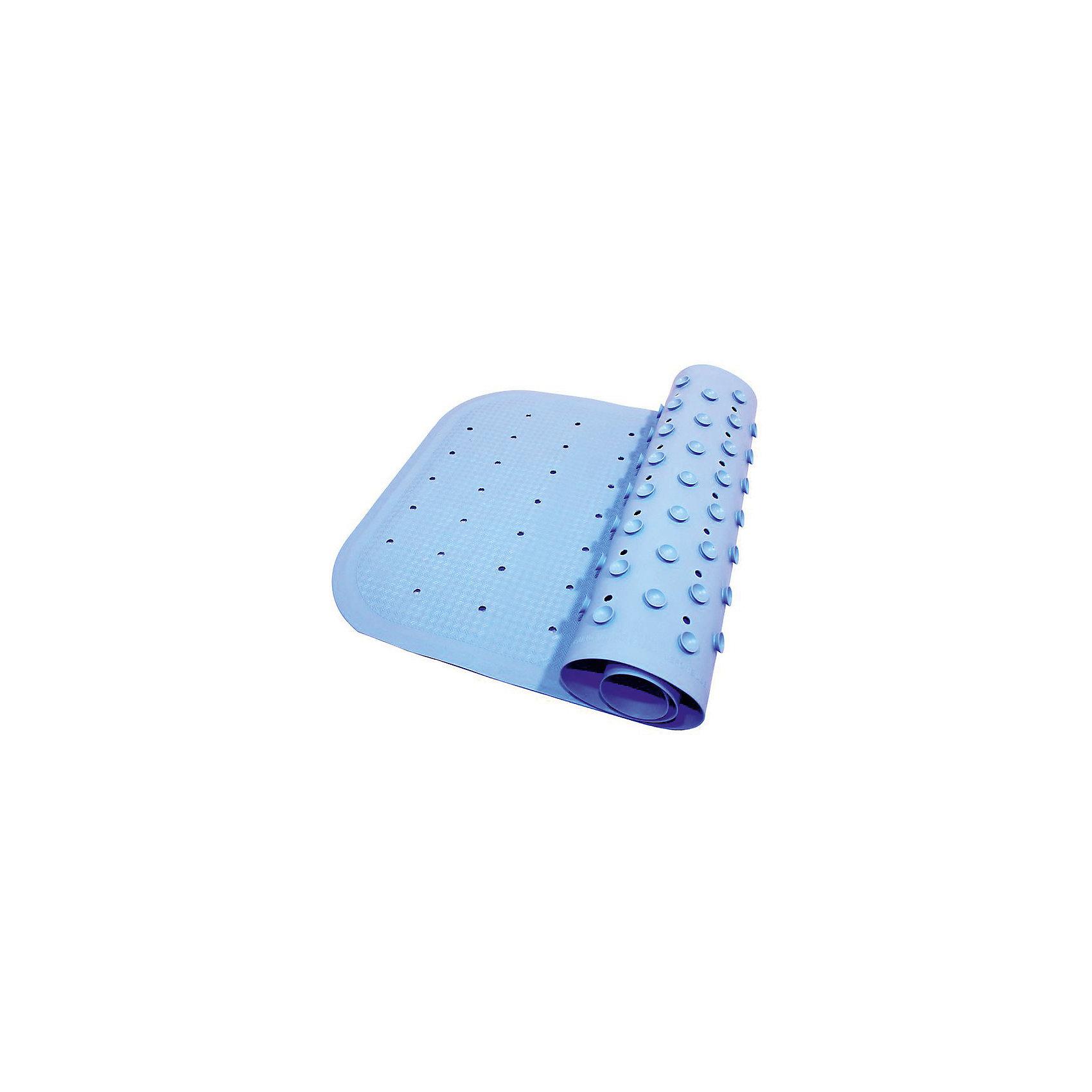 Антискользящий коврик для ванны 34,5х76 см, голубойДетские коврики для ванны<br>Антискользящий коврик для ванны 34,5х76 см, голубой – это эластичный, мягкий и приятный на ощупь коврик для безопасного купания малыша.<br>Противоскользящий коврик для ванны создан специально для детей и призван обеспечить комфортное и безопасное купание малышей в ванне. Он обладает целым рядом важных преимуществ. Мягкие присоски надежно прикрепляют коврик ко дну ванны и не дают ему скользить по ее поверхности, как бы активно ни двигался малыш. Специальное покрытие препятствует скольжению ног или тела ребенка по коврику. Поверхность коврика имеет рельефные элементы, обеспечивающие массажные функции, благодаря которым купание малыша в ванне станет не только простым и безопасным, но еще и полезным! Специальные отверстия позволяют воде легко стекать и обеспечивают более надежное крепление коврика к поверхности ванны. Оптимальный размер коврика 34 на 74 см делает его доступным для использования в любых ваннах, как в обычных больших, так и в детских ванночках и мини-бассейнах. Коврик выполнен в жизнерадостном голубом цвете - он станет не только отличным помощником вам и вашему малышу, но и стильным аксессуаром! Антискользящий коврик для ванны сделан из 100%-но натуральной резины без применения токсичного сырья. Резиновый коврик на присосках полностью соответствует всем требованиям безопасности детской продукции: ГОСТ 25779-90, СанПин 2.4.7.007-93, Европейским стандартам качества EN17.<br><br>Дополнительная информация:<br><br>- Материал: резина<br>- Цвет: голубой<br>- Размер: 34,5 х 76 см.<br><br>Антискользящий коврик для ванны 34,5х76 см, голубой можно купить в нашем интернет-магазине.<br><br>Ширина мм: 340<br>Глубина мм: 250<br>Высота мм: 30<br>Вес г: 700<br>Возраст от месяцев: 0<br>Возраст до месяцев: 36<br>Пол: Унисекс<br>Возраст: Детский<br>SKU: 4182044