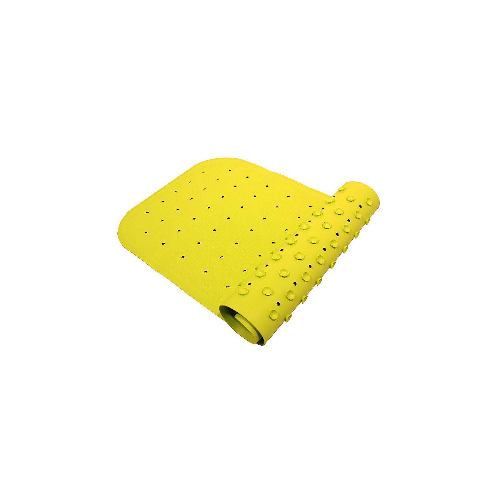 Антискользящий коврик для ванны 34,5х76 см, салатовыйПрочие аксессуары<br>Антискользящий коврик для ванны 34,5х76 см, салатовый – это эластичный, мягкий и приятный на ощупь коврик для безопасного купания малыша.<br>Противоскользящий коврик для ванны создан специально для детей и призван обеспечить комфортное и безопасное купание малышей в ванне. Он обладает целым рядом важных преимуществ. Мягкие присоски надежно прикрепляют коврик ко дну ванны и не дают ему скользить по ее поверхности, как бы активно ни двигался малыш. Специальное покрытие препятствует скольжению ног или тела ребенка по коврику. Поверхность коврика имеет рельефные элементы, обеспечивающие массажные функции, благодаря которым купание малыша в ванне станет не только простым и безопасным, но еще и полезным! Специальные отверстия позволяют воде легко стекать и обеспечивают более надежное крепление коврика к поверхности ванны. Оптимальный размер коврика 34 на 74 см делает его доступным для использования в любых ваннах, как в обычных больших, так и в детских ванночках и мини-бассейнах. Коврик выполнен в жизнерадостном салатовом цвете - он станет не только отличным помощником вам и вашему малышу, но и стильным аксессуаром! Антискользящий коврик для ванны сделан из 100%-но натуральной резины без применения токсичного сырья. Резиновый коврик на присосках полностью соответствует всем требованиям безопасности детской продукции: ГОСТ 25779-90, СанПин 2.4.7.007-93, Европейским стандартам качества EN17.<br><br>Дополнительная информация:<br><br>- Материал: резина<br>- Цвет: салатовый<br>- Размер: 34,5 х 76 см.<br><br>Антискользящий коврик для ванны 34,5х76 см, салатовый можно купить в нашем интернет-магазине.<br><br>Ширина мм: 340<br>Глубина мм: 250<br>Высота мм: 30<br>Вес г: 700<br>Возраст от месяцев: 0<br>Возраст до месяцев: 36<br>Пол: Унисекс<br>Возраст: Детский<br>SKU: 4182091