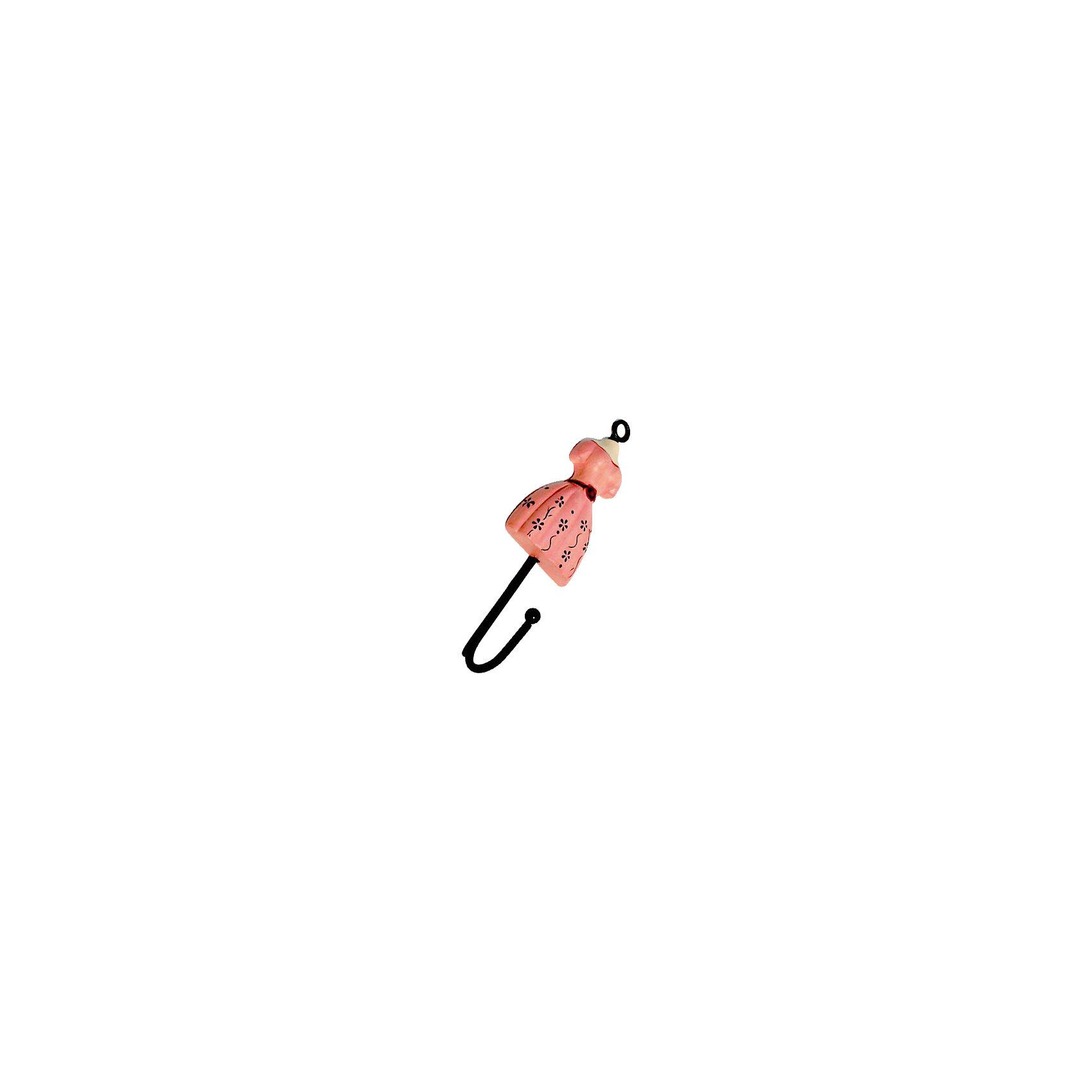 Вешалка-крючок «Розовое платье» 4,5*18 см