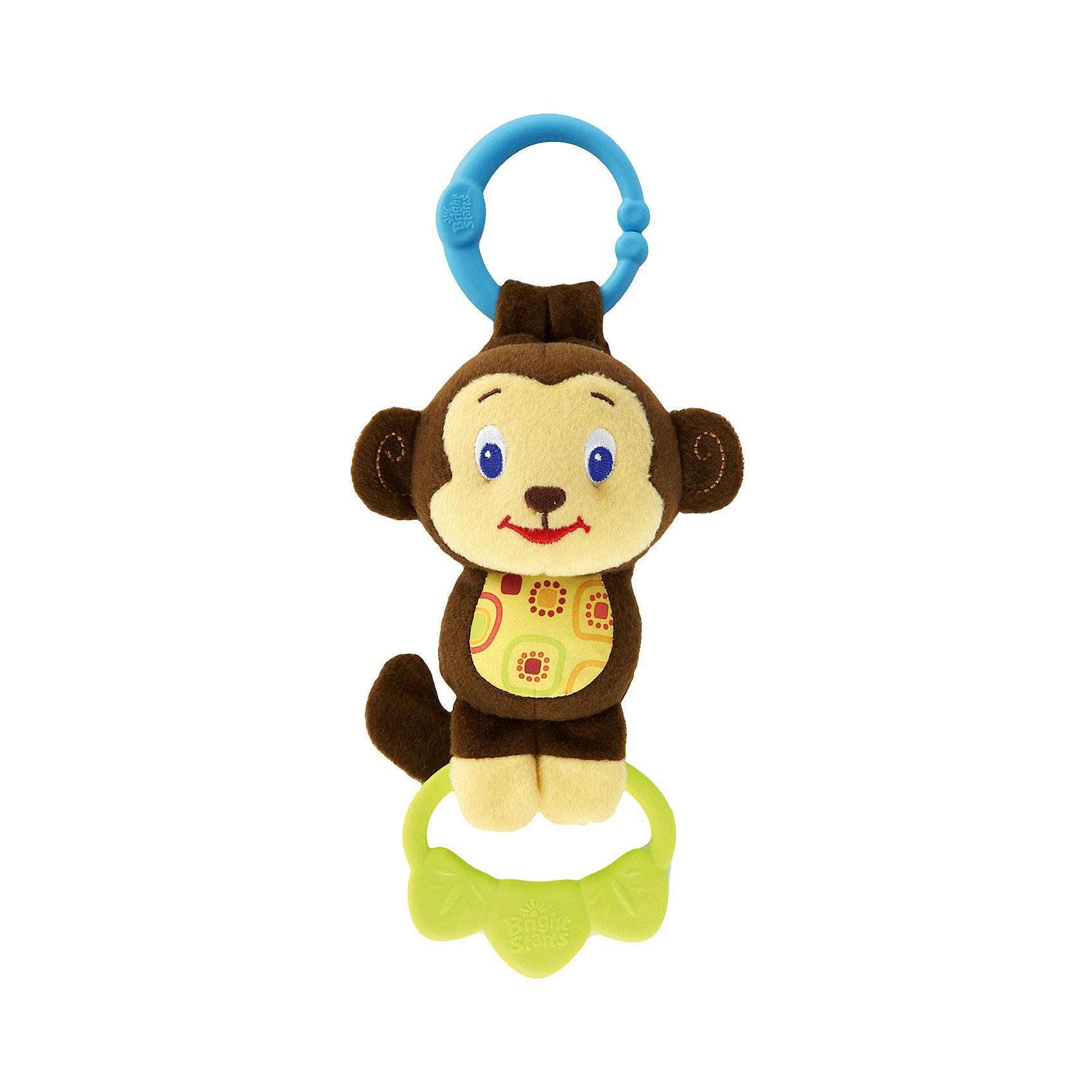 Развивающая игрушка-подвеска Обезьянка, Bright StartsРазвивающая игрушка-подвеска Обезьянка, Bright Starts (Брайт Стартс) – игрушка-подвеска с музыкальным сопровождением и прорезывателем!<br>Забавная плюшевая обезьянка развеселит малыша четырьмя веселыми мелодиями. Для этого достаточно потянуть за пластиковые лепестки, которые мартышка держит в лапках. Мягкие лепесточки также снимут боль с воспаленных десен во время прорезывания зубов. Разноцветный шуршащий животик разовьет тактильные навыки у малыша. С помощью пластикового колечка игрушка легко крепится на детскую коляску, развивающий коврик или кроватку. Игрушка выполнена из высококачественных безопасных материалов.<br><br>Дополнительная информация:<br><br>- Размер товара: 11 х 7 х 27 см.<br>- Батарейки: 3 типа AG13, 1,5V (товар комплектуется демонстрационными)<br>- Размеры коробки: 11 х 7 х 31 см.<br>- Вес: 132 гр.<br><br>Развивающую игрушку-подвеску Обезьянка, Bright Starts (Брайт Стартс) можно купить в нашем интернет-магазине.<br><br>Ширина мм: 137<br>Глубина мм: 74<br>Высота мм: 295<br>Вес г: 132<br>Возраст от месяцев: 3<br>Возраст до месяцев: 24<br>Пол: Унисекс<br>Возраст: Детский<br>SKU: 4182921