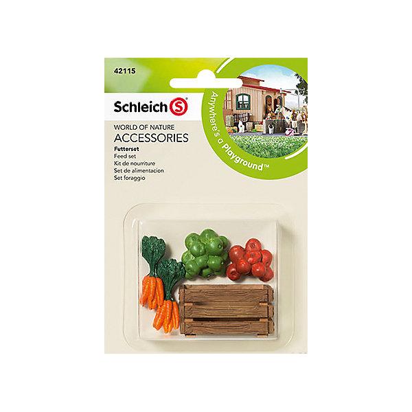 Набор для кормления, SchleichМир животных<br>Набор для кормления, Schleich- это высококачественный игровой набор.<br><br>Набор для кормления животных от немецкого производителя игрушек Schleich поможет сделать игру ребенка еще более увлекательной, а жизнь на игрушечной ферме полноценной и удобной. <br><br>В наборе Schleich представлены: <br><br>- Ящик для фруктов и овощей,<br>- Яблоки,<br>- Морковь. <br><br>Все игрушки из набора выполнены из качественного каучукового пластика с мельчайшей прорисовкой деталей. Игровые элементы имеют реалистичный внешний вид, приятны на ощупь и позволяют детям играть с большим удовольствия. <br><br>В процессе манипуляций с миниатюрными игрушками у ребенка развивается мелкая моторика, стимулируется развитие речи, логическое мышление, ребенок знакомится с окружающим миром.<br><br>Дополнительная информация:<br><br>-Состав: ящик, муляжи фруктов и овощей.<br>- Материал: каучуковый пластик.<br><br>Набор для кормления, Schleich (Шляйх), можно купить в нашем интернет-магазине.<br><br>Ширина мм: 141<br>Глубина мм: 91<br>Высота мм: 22<br>Вес г: 22<br>Возраст от месяцев: 36<br>Возраст до месяцев: 96<br>Пол: Женский<br>Возраст: Детский<br>SKU: 4183540