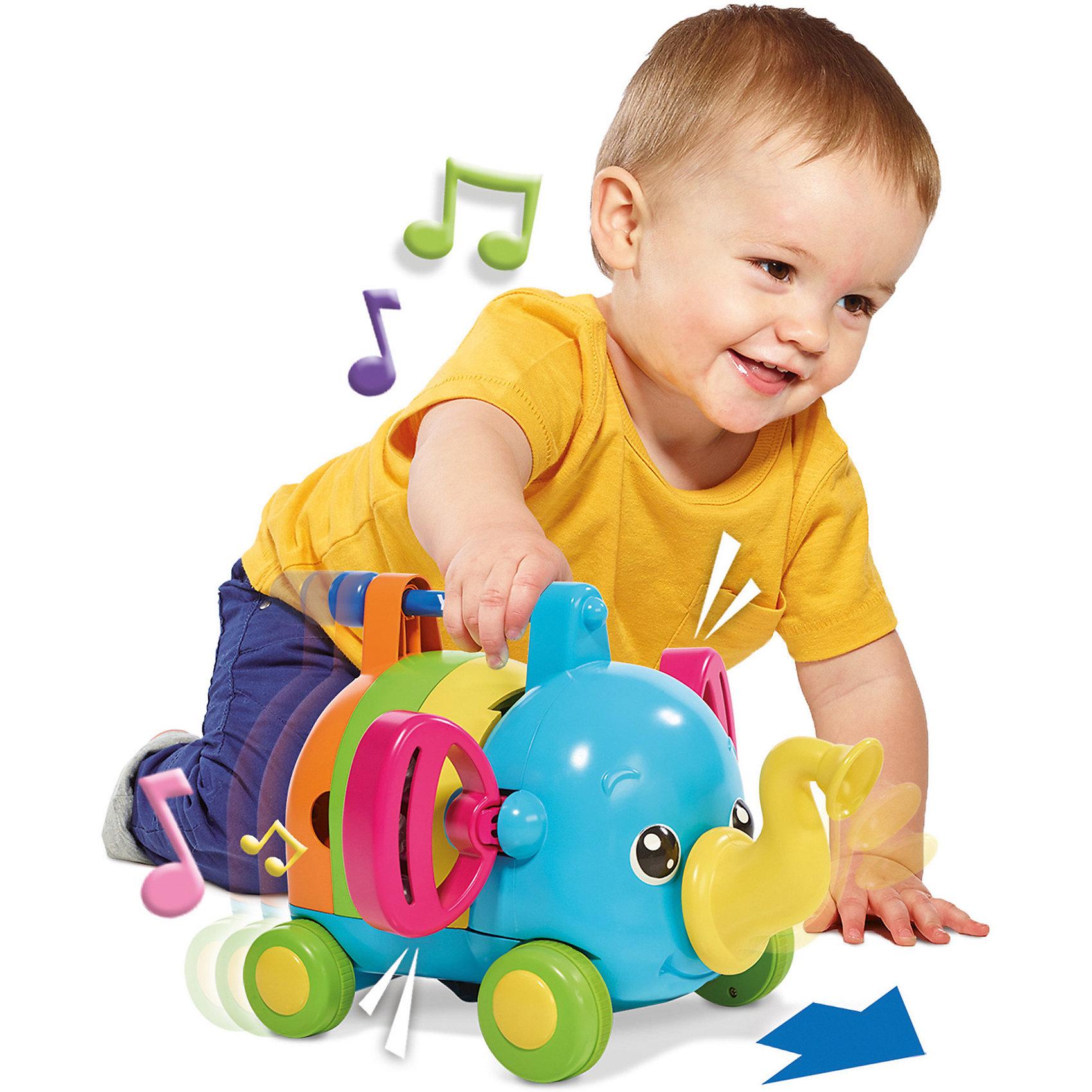 Слоненок-оркестр, TOMYМузыкальные инструменты и игрушки<br>Слоненок-оркестр, TOMY (ТОМИ) – это яркая развивающая игрушка, которая обязательно понравится вашему ребенку.<br>Яркая игрушка Слоненок-оркестр отличный подарок для маленьких музыкантов. Когда ребенок толкает игрушку, слоненок сам играет на музыкальных инструментах - это продолжается все время, пока слоненок находится в движении. Каждая часть тела слоненка – это музыкальный инструмент. Слоненок разбирается и тогда 5 симпатичных и очень забавных музыкальных инструментов можно использовать самостоятельно. Игрушка развивает координацию и моторику рук у ребенка, а также музыкальный слух малыша.<br><br>Дополнительная информация:<br><br>- Материал: пластик<br>- Размер: 21 x 29 x 30 см.<br>- Вес: 1,1 кг.<br><br>Игрушку Слоненок-оркестр, TOMY (ТОМИ) можно купить в нашем интернет-магазине.<br><br>Ширина мм: 210<br>Глубина мм: 290<br>Высота мм: 240<br>Вес г: 1000<br>Возраст от месяцев: 36<br>Возраст до месяцев: 72<br>Пол: Унисекс<br>Возраст: Детский<br>SKU: 4183568
