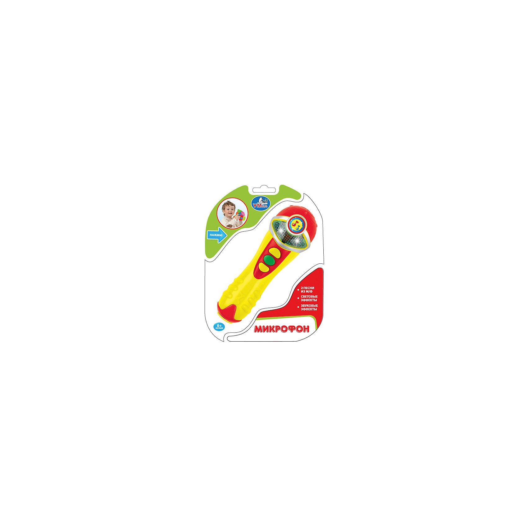 Микрофон с песнями В.Шаинского (3 песни), со светом и звуковыми эффектами, УмкаДетские музыкальные инструменты<br>Микрофон с песнями В. Шаинского (3 песни), со светом и звуковыми эффектами, Умка – игрушка подарит малышу много прекрасных и радостных моментов.<br>Этот развивающий и очень внешне привлекательный микрофон познакомит ребенка с миром музыки и просто доставит ему много радости. Он даст малышу возможность прослушать 3 песни В. Шаинского. Для того, чтобы играть было интереснее, производитель оснастил его световыми эффектами и функцией аплодисменты. Корпус устройства выполнен из высококачественного пластика ярких цветов. Чтобы начать игру, малышу будет достаточно нажать одну из кнопок, расположенных на микрофоне. Нажимая на кнопки, слушая веселые песенки, ваш малыш проведет время увлекательно и с пользой. Игра с этим микрофоном развивает слух, зрение, музыкальную память, концентрацию внимания, моторику, воображение, артистизм, творческое мышление.<br><br>Дополнительная информация:<br><br>- Материал: пластик<br>- Батарейки: 2 типа LR44 (в комплект входят демонстрационные)<br>- Размер упаковки: 17 x 6 x 22 см.<br><br>Микрофон с песнями В. Шаинского (3 песни), со светом и звуковыми эффектами, Умка можно купить в нашем интернет-магазине.<br><br>Ширина мм: 440<br>Глубина мм: 340<br>Высота мм: 590<br>Вес г: 150<br>Возраст от месяцев: 36<br>Возраст до месяцев: 72<br>Пол: Унисекс<br>Возраст: Детский<br>SKU: 4185312