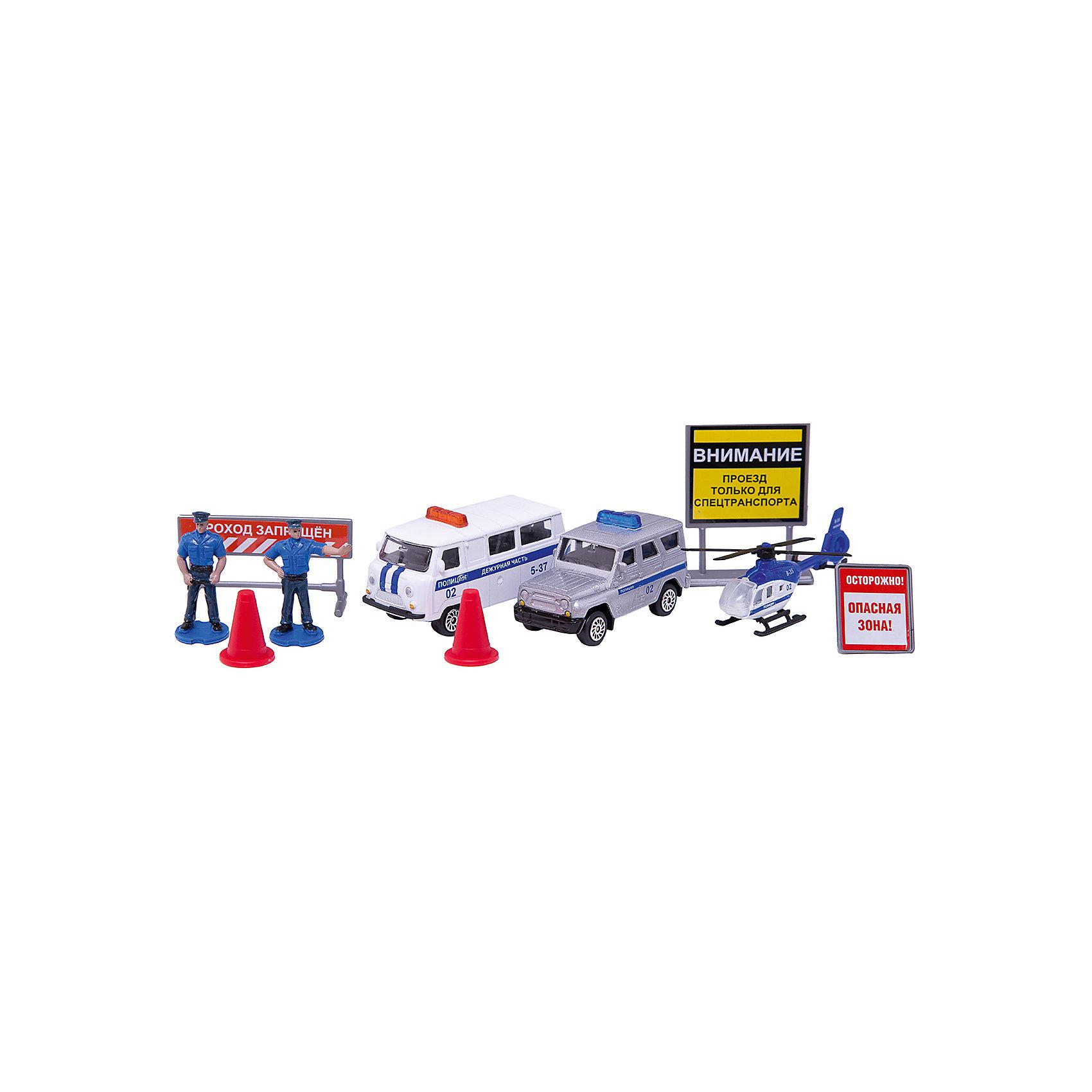 Набор полицейской техники УАЗ, с аксессуарами, 1:72, металл,ТЕХНОПАРККоллекционные модели<br>Набор полицейской техники УАЗ, с аксессуарами, 1:72, металл, ТехноПарк – этот набор отлично подойдет для маленьких любителей техники.<br>Набор полицейской техники УАЗ, с аксессуарами включает вертолет, 2 полицейские машинки, 2 фигурки полицейских, 3 предупреждающих знака и два дорожных конуса. Корпусы вертолета и машинок выполнены из металла с элементами из пластика. Винт вертолета и колеса машинок крутятся. Набор наиболее реалистично создает представления о работе полиции. Ваш ребенок будет часами играть с набором, придумывая различные истории. Порадуйте своего малыша таким замечательным подарком!<br><br>Дополнительная информация:<br><br>- В наборе: вертолет, 2 машинки, 2 фигурки, 3 знака, 2 конуса<br>- Масштаб: 1:72<br>- Материал: металл, пластик<br>- Длина машинок: 7,5 и 6,5 см.<br>- Длина вертолета: 8 см.<br>- Высота фигурок: 4 см.<br>- Размер упаковки: 26 x 18 x 4 см.<br><br>Набор полицейской техники УАЗ, с аксессуарами, 1:72, металл, ТехноПарк можно купить в нашем интернет-магазине.<br><br>Ширина мм: 500<br>Глубина мм: 460<br>Высота мм: 370<br>Вес г: 230<br>Возраст от месяцев: 36<br>Возраст до месяцев: 192<br>Пол: Мужской<br>Возраст: Детский<br>SKU: 4185322