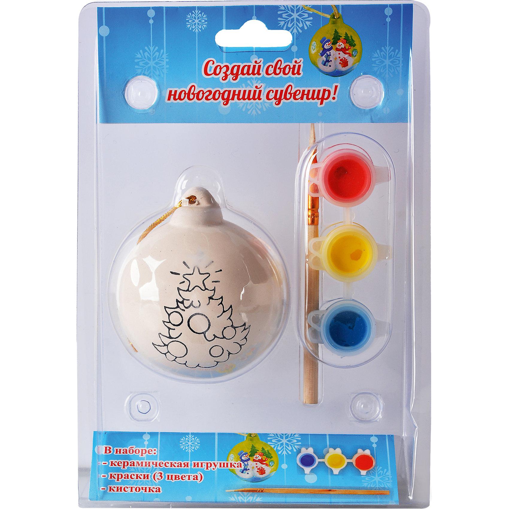 Керамический сувенир для раскрашивания Шар, в ассортиментеКерамический сувенир для раскрашивания Шар, Tukzar, станет приятным новогодним сюрпризом для Вашего ребенка. В комплект входит керамический шар для елки, который надо раскрасить понравившимися цветами, кисточка и краски. Готовая игрушка замечательно украсит Ваш новогодний интерьер и поможет создать праздничную волшебную атмосферу. В ассортименте представлены 3 варианта набора с разным дизайном шаров.<br><br>Дополнительная информация:<br><br>- Материал: керамика.<br>- В комплекте: шар для раскрашивания, кисточка, краски.<br>- Размер упаковки: 17 х 12 х 5 см.<br>- Вес: 0,125 кг. <br><br>Керамический сувенир для раскрашивания Шар, Tukzar, можно купить в нашем интернет-магазине.<br><br>ВНИМАНИЕ! Данный артикул имеется в наличии в разных вариантах исполнения. Заранее выбрать определенный вариант нельзя. При заказе нескольких наборов возможно получение одинаковых.<br><br>Ширина мм: 170<br>Глубина мм: 120<br>Высота мм: 50<br>Вес г: 125<br>Возраст от месяцев: 36<br>Возраст до месяцев: 144<br>Пол: Унисекс<br>Возраст: Детский<br>SKU: 4188606