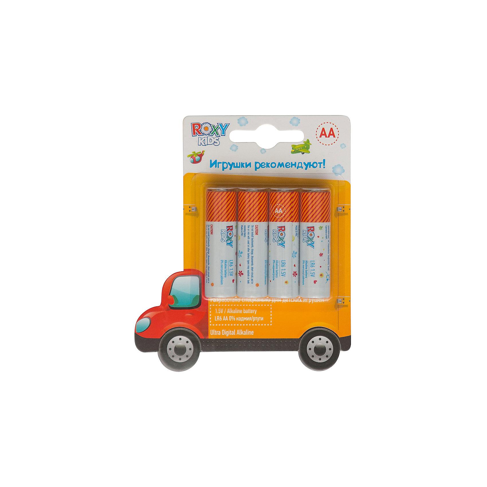 Батарейки для игрушек, тип АА, 4 шт., Roxy-kidsМАШИНКА - Alkaline Battery LR - щелочные (алкалиновые) батарейки. <br>Батарейки ROXY-KIDS - идеальное соотношение цены и продолжительности заряда для игрушек! Батарейки ROXY-KIDS - минимальная стоимость одного часа работы!<br><br>Дополнительная информация:<br><br>Тип батареек: АА<br>В комплекте 4 шт.<br>В составе 0% ртути и кадмия. <br>Системы менеджмента качества и экологического менеджмента подтверждена в Нидерландах.<br><br>Батарейки, тип АА, 1,5В, 4 шт., Roxy-kids можно купить в нашем магазине.<br><br>Ширина мм: 110<br>Глубина мм: 80<br>Высота мм: 10<br>Вес г: 40<br>Возраст от месяцев: 192<br>Возраст до месяцев: 1188<br>Пол: Унисекс<br>Возраст: Детский<br>SKU: 4188901