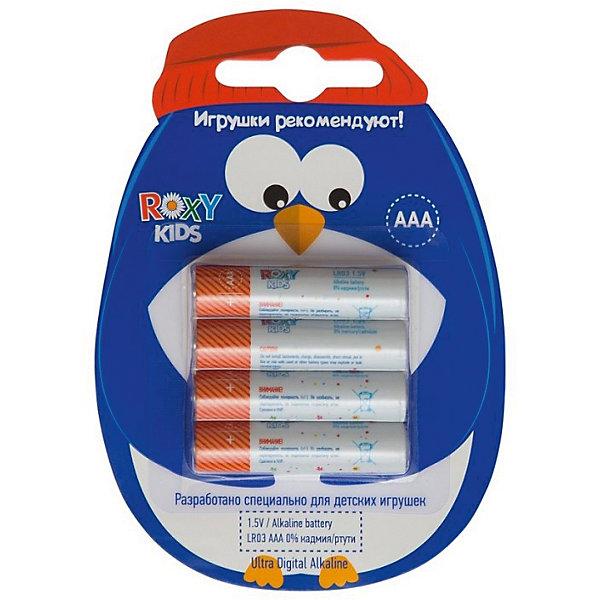Батарейки для игрушек, тип ААА, 4 шт., Roxy-kidsБатарейки<br>Характеристики:<br><br>• Тип электролита: алкалиновые<br>• Тип по питанию: ААА <br>• Комплектация: 4 батарейки<br>• Вес в упаковке: 40 г<br>• Размеры упаковки (Д*Ш*В): 11*8*1 см<br>• Упаковка: картонная коробка с европодвесом <br><br>Батарейка, тип ААА, 1,5В - 4 шт. в упаковке, Roxy-Kids от отечественного торгового бренда, который занимается выпуском батареек для детских игрушек. Щелочные батарейки отличаются более длительным сроком службы, повышенной герметичностью, благодаря чему батарейки не протекают. Изделия соответствуют стандартам безопасности товаров, предназначенных для детей. В их составе отсутствует ртуть и кадмий. Элементы питания хорошо переносят низкие температуры, сохраняя при этом свои свойства и качества. В наборе предусмотрены четыре батарейки. <br><br>Батарейку, тип ААА, 1,5В - 4 шт. в упаковке, Roxy-Kids можно купить в нашем интернет-магазине.<br><br>Ширина мм: 110<br>Глубина мм: 80<br>Высота мм: 10<br>Вес г: 40<br>Возраст от месяцев: 192<br>Возраст до месяцев: 1188<br>Пол: Унисекс<br>Возраст: Детский<br>SKU: 4188903