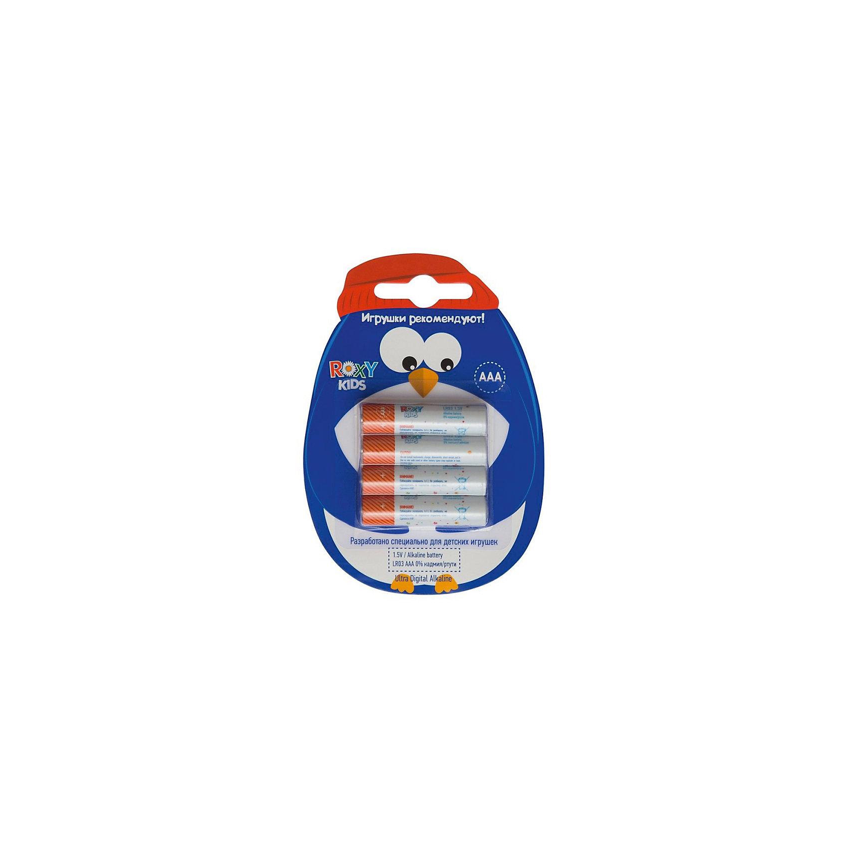 Батарейки для игрушек, тип ААА, 4 шт., Roxy-kidsДетская электроника<br>Характеристики:<br><br>• Тип электролита: алкалиновые<br>• Тип по питанию: ААА <br>• Комплектация: 4 батарейки<br>• Вес в упаковке: 40 г<br>• Размеры упаковки (Д*Ш*В): 11*8*1 см<br>• Упаковка: картонная коробка с европодвесом <br><br>Батарейка, тип ААА, 1,5В - 4 шт. в упаковке, Roxy-Kids от отечественного торгового бренда, который занимается выпуском батареек для детских игрушек. Щелочные батарейки отличаются более длительным сроком службы, повышенной герметичностью, благодаря чему батарейки не протекают. Изделия соответствуют стандартам безопасности товаров, предназначенных для детей. В их составе отсутствует ртуть и кадмий. Элементы питания хорошо переносят низкие температуры, сохраняя при этом свои свойства и качества. В наборе предусмотрены четыре батарейки. <br><br>Батарейку, тип ААА, 1,5В - 4 шт. в упаковке, Roxy-Kids можно купить в нашем интернет-магазине.<br><br>Ширина мм: 110<br>Глубина мм: 80<br>Высота мм: 10<br>Вес г: 40<br>Возраст от месяцев: 192<br>Возраст до месяцев: 1188<br>Пол: Унисекс<br>Возраст: Детский<br>SKU: 4188903