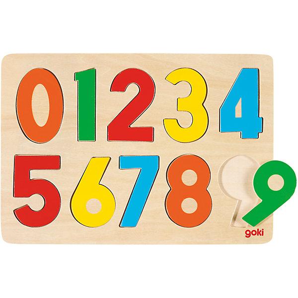 Пазл Цифры, gokiРамки-вкладыши<br>С помощью этого пазла ребенок познакомится с цифрами и сможет освоить первоначальные навыки счета. Яркие детали обязательно привлекут внимание малышей. Собирание пазлов прекрасно развивает мелкую моторику, мышление, внимание и усидчивость. Игрушка выполнена из натурального дерева, раскрашена нетоксичными красками, не имеет острых углов и мелких деталей, поэтому подходит даже для самых маленьких детей.<br><br>Дополнительная информация:<br><br>- Комплектация:  основание, 10 цифр.<br>- Размер пазла: 30 см х 20,5 см.<br>- Материал: дерево.<br><br>Пазл Цифры, goki (Гоки), можно купить в нашем магазине.<br><br>Ширина мм: 300<br>Глубина мм: 205<br>Высота мм: 40<br>Вес г: 300<br>Возраст от месяцев: 36<br>Возраст до месяцев: 72<br>Пол: Унисекс<br>Возраст: Детский<br>SKU: 4189900