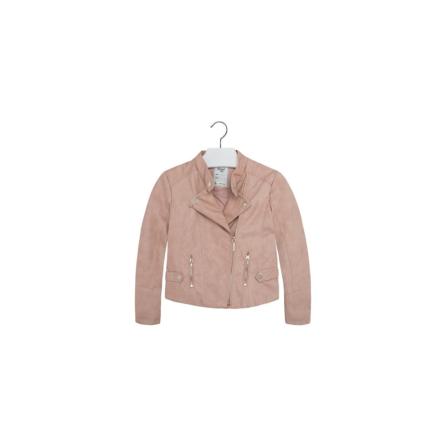 Куртка для девочки MayoralКуртка для девочки от популярной испанской марки Mayoral.<br>Модная куртка-косуха под кожу от Mayoral – отличный вариант универсальной верхней одежды для детей. Она отлично смотрится с юбками и брюками. Удобный крой и качественный материал обеспечит ребенку комфорт при ношении этой вещи. <br>Модель имеет следующие особенности:<br><br>- цвет: бежевый;<br>- золотистая фурнитура;<br>- подкладка тонкая;<br>- лацканы на кнопках;<br>- отвороты в развернутом состоянии фиксируются кнопками;<br>- застежка-молния.<br><br>Состав: 100% полиуретан, подкладка - 100% полиэстер<br><br>Уход за изделием:<br><br>стирка в машине при температуре до 30°С,<br>не отбеливать.<br><br>Температурный режим:<br><br>от +5° С до +20° С<br><br>Куртку для девочки Mayoral (Майорал) можно купить в нашем магазине.<br><br>Ширина мм: 356<br>Глубина мм: 10<br>Высота мм: 245<br>Вес г: 519<br>Цвет: бежевый<br>Возраст от месяцев: 108<br>Возраст до месяцев: 120<br>Пол: Женский<br>Возраст: Детский<br>Размер: 140,158,164,152,128<br>SKU: 4190292