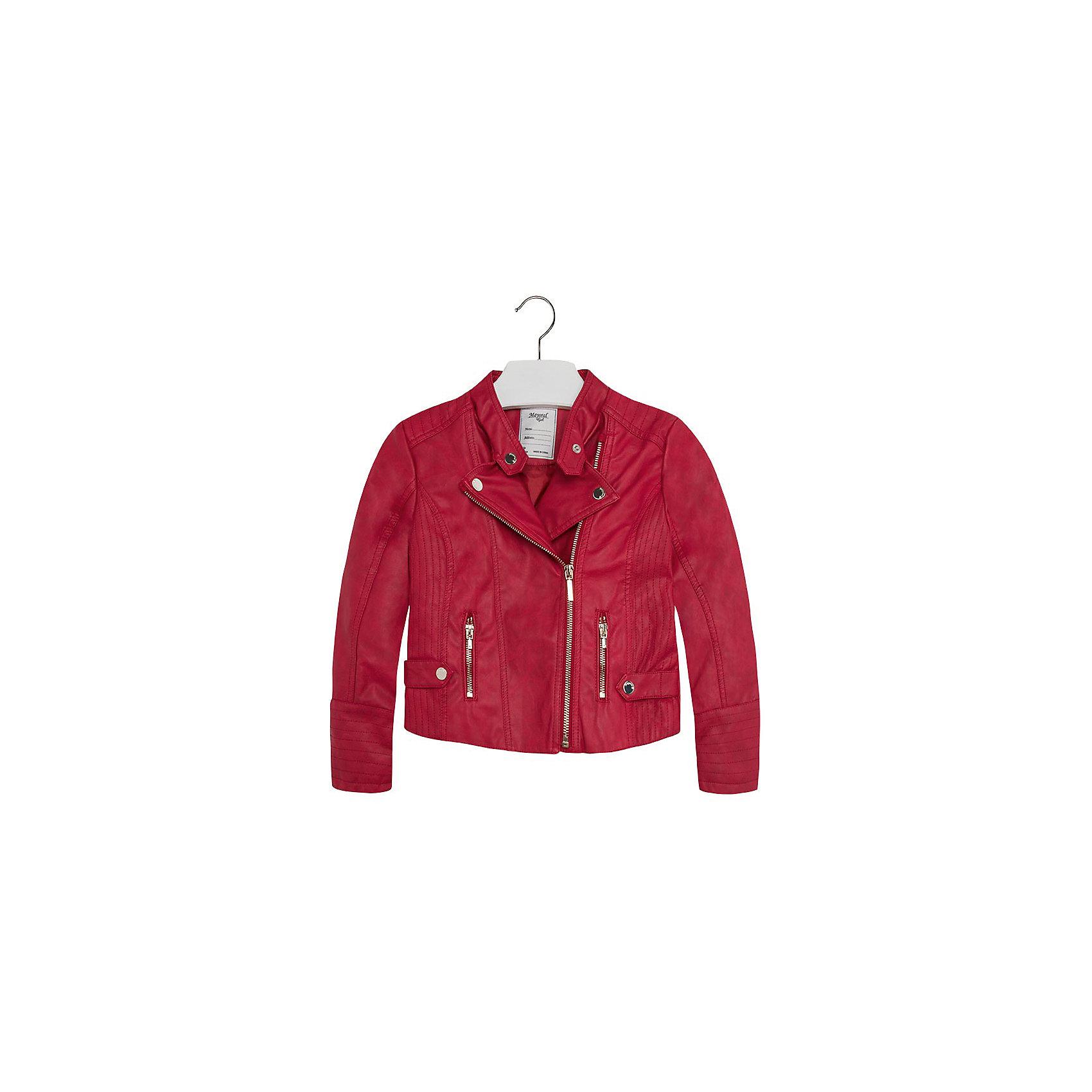 Куртка для девочки MayoralКуртка для девочки от популярной испанской марки Mayoral.<br>Модная куртка-косуха под кожу от Mayoral – отличный вариант универсальной верхней одежды для детей. Она отлично смотрится с юбками и брюками. Удобный крой и качественный материал обеспечит ребенку комфорт при ношении этой вещи. <br>Модель имеет следующие особенности:<br><br>- цвет: красный;<br>- золотистая фурнитура;<br>- подкладка тонкая;<br>- лацканы на кнопках;<br>- отвороты в развернутом состоянии фиксируются кнопками;<br>- застежка-молния.<br><br>Состав: 100% полиуретан, подкладка - 100% полиэстер<br><br>Уход за изделием:<br><br>стирка в машине при температуре до 30°С,<br>не отбеливать.<br><br>Температурный режим:<br><br>от +5° С до +20° С<br><br>Куртку для девочки Mayoral (Майорал) можно купить в нашем магазине.<br><br>Ширина мм: 356<br>Глубина мм: 10<br>Высота мм: 245<br>Вес г: 519<br>Цвет: красный<br>Возраст от месяцев: 132<br>Возраст до месяцев: 144<br>Пол: Женский<br>Возраст: Детский<br>Размер: 152,158,140,164,128<br>SKU: 4190298