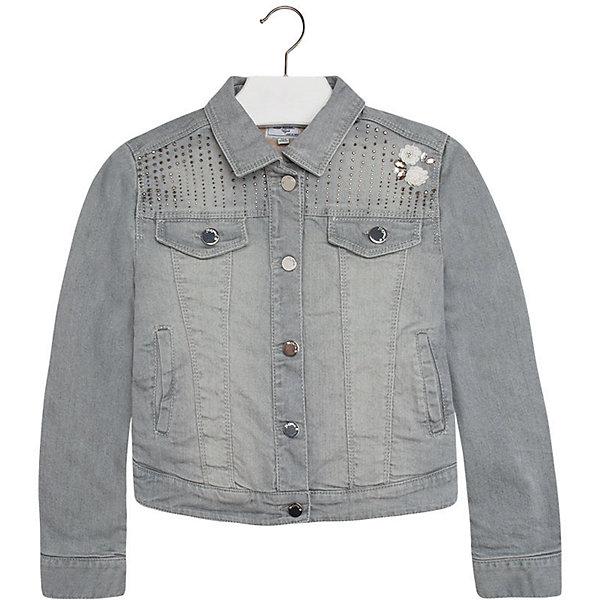 Джинсовая куртка для девочки MayoralДжинсовая одежда<br>Куртка для девочки от популярной испанской марки Mayoral.<br><br>Джинсовая куртка от бренда Mayoral – эффектная и стильная модель. Комфортный крой и качественный материал обеспечит комфорт при ношении этой вещи. Натуральный хлопок в составе изделия делает его дышащим и мягким.<br>Модель имеет следующие особенности:<br><br>- натуральная джинсовая ткань сероватого цвета;<br>- эффект потертостей;<br>- застежки - кнопки;<br>- стразы различного размера и пайетки в качестве украшений.<br><br>Состав: 100% хлопок<br>Уход за изделием:<br><br>стирка в машине при температуре до 30°С,<br>не отбеливать,<br>гладить на низкой температуре.<br><br>Куртку для девочки Mayoral (Майорал) можно купить в нашем магазине.<br><br>Ширина мм: 356<br>Глубина мм: 10<br>Высота мм: 245<br>Вес г: 519<br>Цвет: серый<br>Возраст от месяцев: 132<br>Возраст до месяцев: 144<br>Пол: Женский<br>Возраст: Детский<br>Размер: 152,158,140,128,164<br>SKU: 4190304