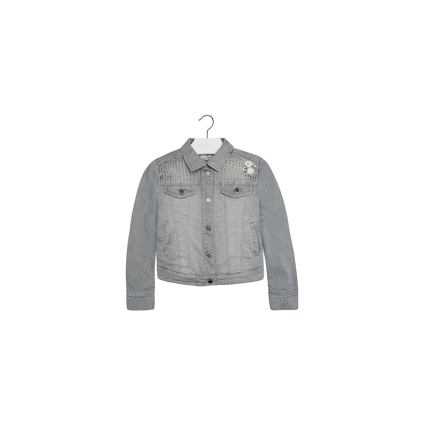 Джинсовая куртка для девочки MayoralКуртка для девочки от популярной испанской марки Mayoral.<br><br>Джинсовая куртка от бренда Mayoral – эффектная и стильная модель. Комфортный крой и качественный материал обеспечит комфорт при ношении этой вещи. Натуральный хлопок в составе изделия делает его дышащим и мягким.<br>Модель имеет следующие особенности:<br><br>- натуральная джинсовая ткань сероватого цвета;<br>- эффект потертостей;<br>- застежки - кнопки;<br>- стразы различного размера и пайетки в качестве украшений.<br><br>Состав: 100% хлопок<br>Уход за изделием:<br><br>стирка в машине при температуре до 30°С,<br>не отбеливать,<br>гладить на низкой температуре.<br><br>Куртку для девочки Mayoral (Майорал) можно купить в нашем магазине.<br><br>Ширина мм: 356<br>Глубина мм: 10<br>Высота мм: 245<br>Вес г: 519<br>Цвет: серый<br>Возраст от месяцев: 132<br>Возраст до месяцев: 144<br>Пол: Женский<br>Возраст: Детский<br>Размер: 152,140,164,128,158<br>SKU: 4190304