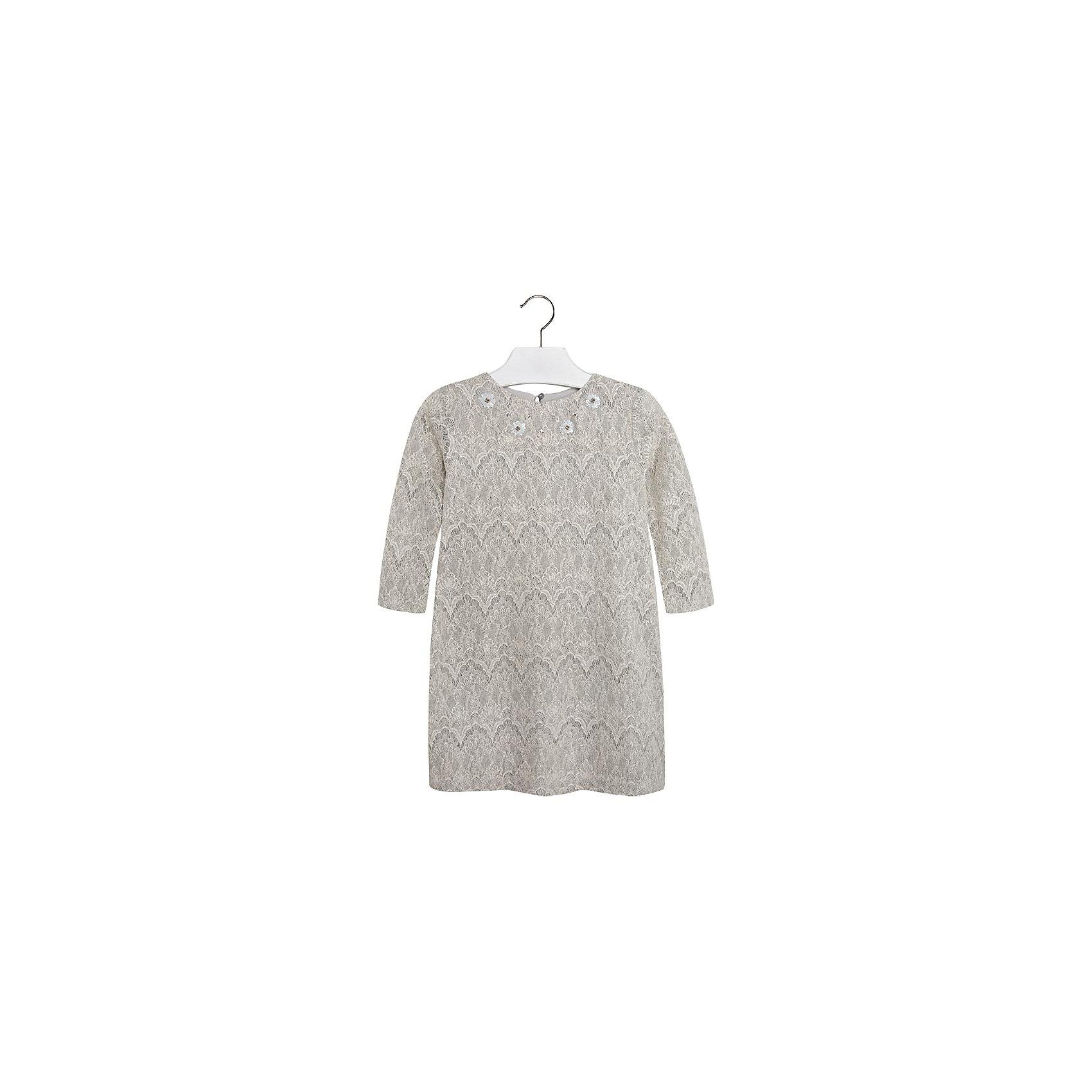 Платье MayoralПлатье для девочки от известной испанской марки Mayoral.<br>Стильное платье от известного бренда Mayoral поможет девочке создать и повседневный, и нарядный образ. Удобный крой и качественный материал обеспечит ребенку комфорт при ношении этой вещи.<br>Модель имеет следующие особенности:<br><br>- цвет – светло-серый;<br>- полочка и рукава - из нежного гипюра;<br>- впереди украшено пайетками и бусинами;<br>- материал эластичный;<br>- сзади застегивается на пуговицу.<br><br>Состав: верх 35% полиамид, 25% акрил, 23% хлопок, 17% полиэстер; подкладка - 100% полиэстер<br>Уход за изделием:<br><br>• стирка в машине при температуре до 30°С,<br>• не отбеливать,<br>• гладить на низкой температуре.<br><br>Платье для девочки Mayoral (Майорал) можно купить в нашем магазине.<br><br>Ширина мм: 236<br>Глубина мм: 16<br>Высота мм: 184<br>Вес г: 177<br>Цвет: белый<br>Возраст от месяцев: 84<br>Возраст до месяцев: 96<br>Пол: Женский<br>Возраст: Детский<br>Размер: 128,152,158,164,140<br>SKU: 4190468