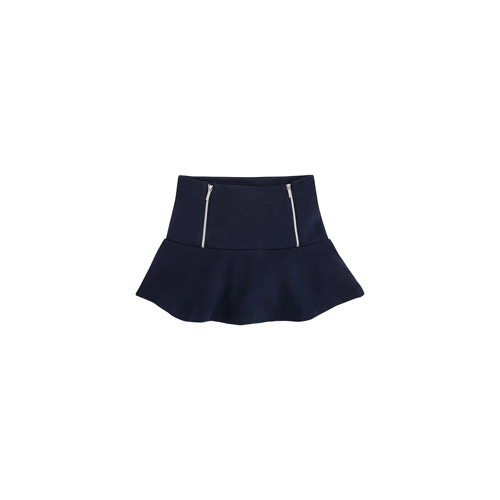 Юбка MayoralЮбки<br>Юбка от известной испанской марки Mayoral.<br>Удобная трикотажная юбка от известного бренда Mayoral поможет девочке создать и повседневный, и нарядный образ. Удобный крой и качественный материал обеспечит ребенку комфорт при ношении этой вещи.<br>Модель имеет следующие особенности:<br><br>- темно-синего цвета эластичный материал;<br>- внизу -  широкий волан;<br>- на поясе - две серебристых молнии.<br><br>Состав: 83% полиэстер, 10% хлопок, 7% эластан<br><br>Уход за изделием:<br><br>стирка в машине при температуре до 30°С,<br>не отбеливать.<br><br>Юбку Mayoral (Майорал) можно купить в нашем магазине.<br><br>Ширина мм: 207<br>Глубина мм: 10<br>Высота мм: 189<br>Вес г: 183<br>Цвет: синий<br>Возраст от месяцев: 156<br>Возраст до месяцев: 168<br>Пол: Женский<br>Возраст: Детский<br>Размер: 164,128,140,152,158<br>SKU: 4190521