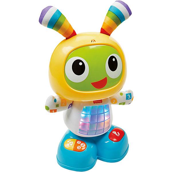 Обучающий робот Бибо, Fisher-PriceИнтерактивные игрушки для малышей<br>Обучающий робот Бибо, Fisher-Price (Фишер-Прайс) учит малыша буквам, цветам, счету, музыке, причинно-следственным связям и многому другому. Нажмите на животик Бибо или любую кнопку на его ножках, чтобы активировать веселые песенки, обучающие фразы и мелодии, под которые можно танцевать! Эта забавная игрушка даже позволяет записывать фразу, из которой Бибо затем делает веселую песенку! <br><br>Характеристики:<br>-3 режима: веселые танцы, обучение и игры, веселые песенки <br>-Яркие привлекательные элементы развивают интеллектуальное развитие и сенсорное восприятие<br>-Малыш при световых элементов и воспроизведении звуковых учится воспроизводить причинно-следственные связи <br>-Общая двигательная активность и крупная моторика развиваются при следовании за интерактивным роботом<br><br>Дополнительная информация:<br>-Материалы: пластик<br>-Работает от 4 батарейки AA (LR6)<br>- Игрушка озвучена на русском языке;<br><br>Благодаря встроенным 3-м режимам интерактивный робот Бибо будет способствовать раннему развитию и «расти» вместе с малышом, радуя его веселыми играми в течение первых лет жизни! <br><br>Обучающего робота Бибо, Fisher-Price (Фишер-Прайс) можно купить в нашем магазине.<br>Ширина мм: 330; Глубина мм: 360; Высота мм: 140; Вес г: 1365; Возраст от месяцев: 6; Возраст до месяцев: 36; Пол: Унисекс; Возраст: Детский; SKU: 4190725;