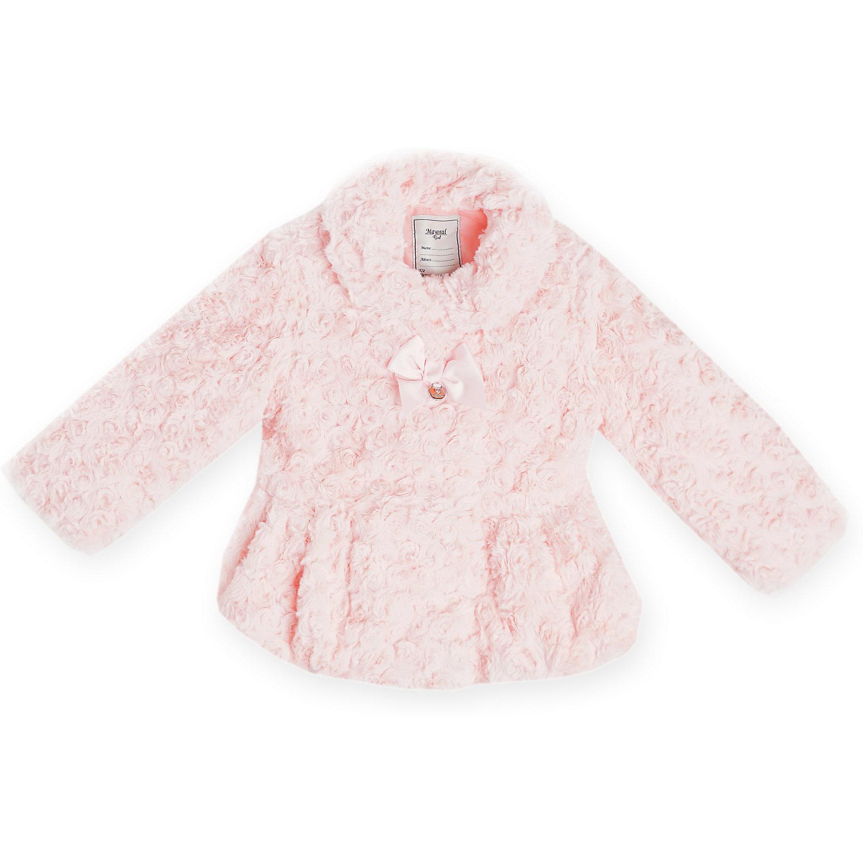Куртка  для девочки MayoralВерхняя одежда<br>Куртка для девочки от популярной испанской марки Mayoral.<br>Модная и теплая куртка от Mayoral обязательно выделит девочки среди сверстниц. Она не только согревает в холодную погоду, но и отлично смотрится. Удобный крой и качественный материал обеспечит ребенку комфорт при ношении этой вещи. <br>Модель имеет следующие особенности:<br><br>- цвет: розовый;<br>- короткий искусственный мех с имитацией роз;<br>- текстильный бант на груди;<br>- застежки - кнопки.<br><br>Состав: 100% полиэстер<br><br>Уход за изделием:<br><br>стирка при температуре до 30°С,<br>не отбеливать.<br><br>Температурный режим:<br><br>от -15° С до +5° С<br><br>Куртку для девочки Mayoral (Майорал) можно купить в нашем магазине.<br><br>Ширина мм: 356<br>Глубина мм: 10<br>Высота мм: 245<br>Вес г: 519<br>Цвет: розовый<br>Возраст от месяцев: 84<br>Возраст до месяцев: 96<br>Пол: Женский<br>Возраст: Детский<br>Размер: 128,110,134,122,116,104,98,92<br>SKU: 4191830