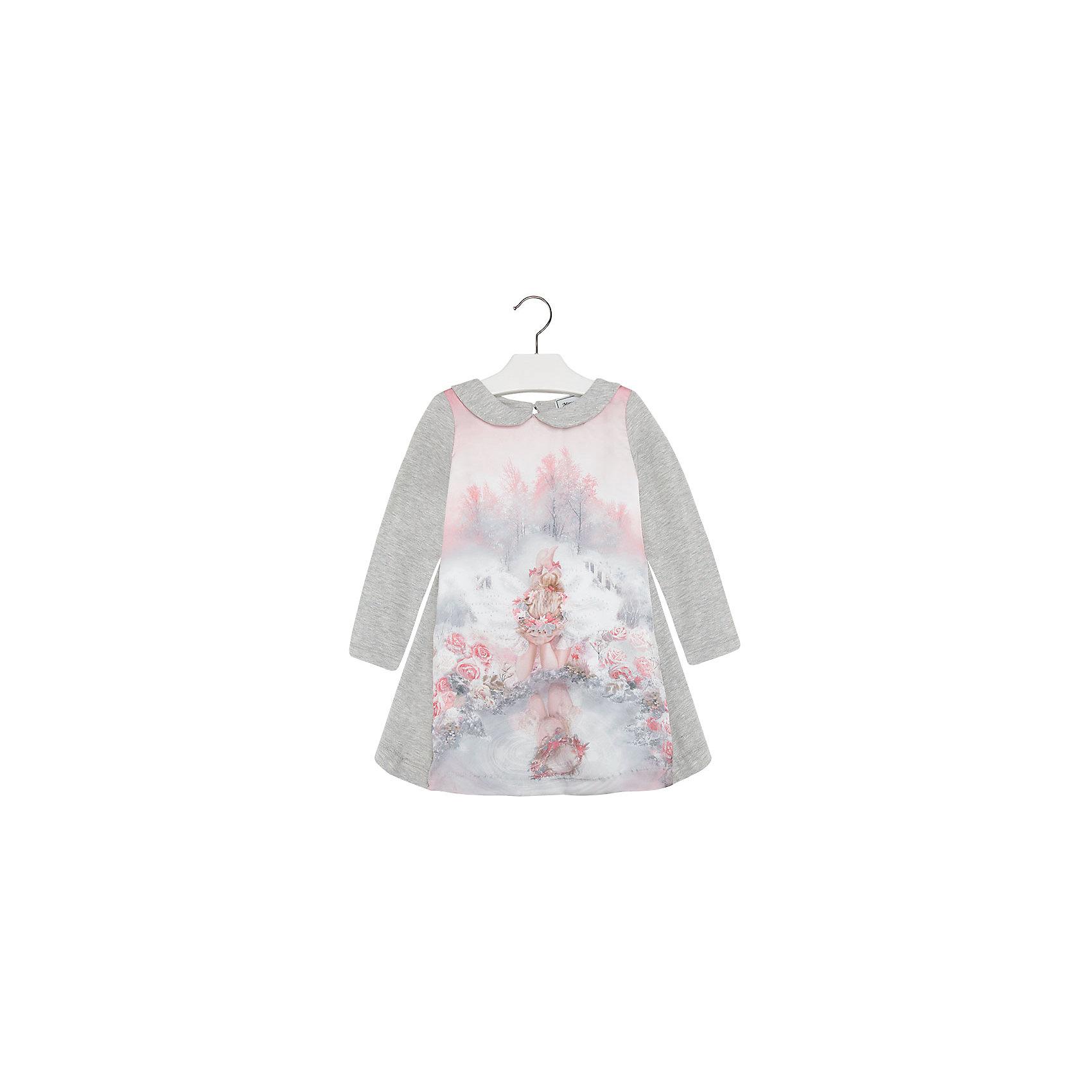 Платье MayoralПлатье для девочки от известной испанской марки Mayoral.<br>Модное платье от известного бренда Mayoral поможет девочке создать и повседневный, и нарядный образ. Удобный крой и качественный материал обеспечит ребенку комфорт при ношении этой вещи.<br>Модель имеет следующие особенности:<br><br>- цвет – серо-розовый;<br>- полочка с принтом;<br>- ткань - мягкий трикотаж;<br>- отложной воротник, округлая горловина;<br>- длинные рукава;<br>- сзади застегивается на пуговицу.<br><br>Состав: хлопок 67%, эластан 3%, полиэстер 30%<br>Уход за изделием:<br><br>• стирка в машине при температуре до 30°С,<br>• не отбеливать,<br>• гладить на низкой температуре.<br>Габариты:<br><br>длина рукава – 34 см,<br>длина по спинке – 50 см.<br><br>*Числовые параметры соответствуют росту 98<br><br>Платье для девочки Mayoral (Майорал) можно купить в нашем магазине.<br><br>Ширина мм: 236<br>Глубина мм: 16<br>Высота мм: 184<br>Вес г: 177<br>Цвет: белый<br>Возраст от месяцев: 18<br>Возраст до месяцев: 24<br>Пол: Женский<br>Возраст: Детский<br>Размер: 110,116,104,122,128,134,92,98<br>SKU: 4192188