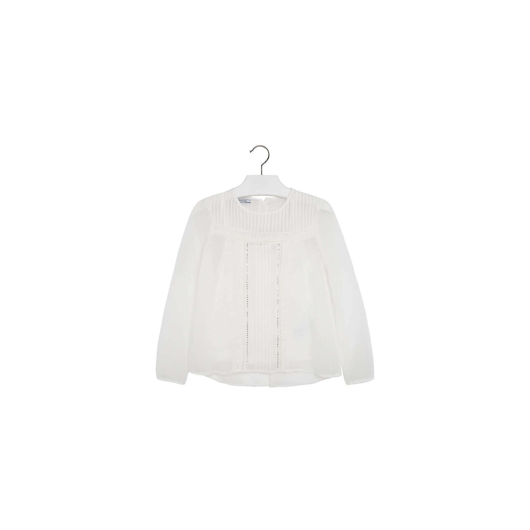 Блузка для девочки MayoralБлузка для девочки от популярной испанской марки Mayoral.<br><br>Эффектная белая блузка Mayoral поможет создать девочке стильный и нарядный образ. Комфортный крой и качественный материал обеспечит комфорт при ношении этой вещи.<br>Модель имеет следующие особенности:<br><br>- нарядный белый цвет;<br>- тонкая легкая ткань;<br>- украшена стразами и вертикальными складками;<br>- застежка-молния;<br>- майка под низ в комплекте.<br><br>Состав: 100% полиэстер<br><br>Уход за изделием:<br><br>стирка в машине при температуре до 30°С,<br>не отбеливать,<br>гладить на низкой температуре.<br><br>Блузку для девочки Mayoral (Майорал) можно купить в нашем магазине.<br><br>Ширина мм: 186<br>Глубина мм: 87<br>Высота мм: 198<br>Вес г: 197<br>Цвет: бежевый<br>Возраст от месяцев: 132<br>Возраст до месяцев: 144<br>Пол: Женский<br>Возраст: Детский<br>Размер: 152,164,128,158,140<br>SKU: 4192500