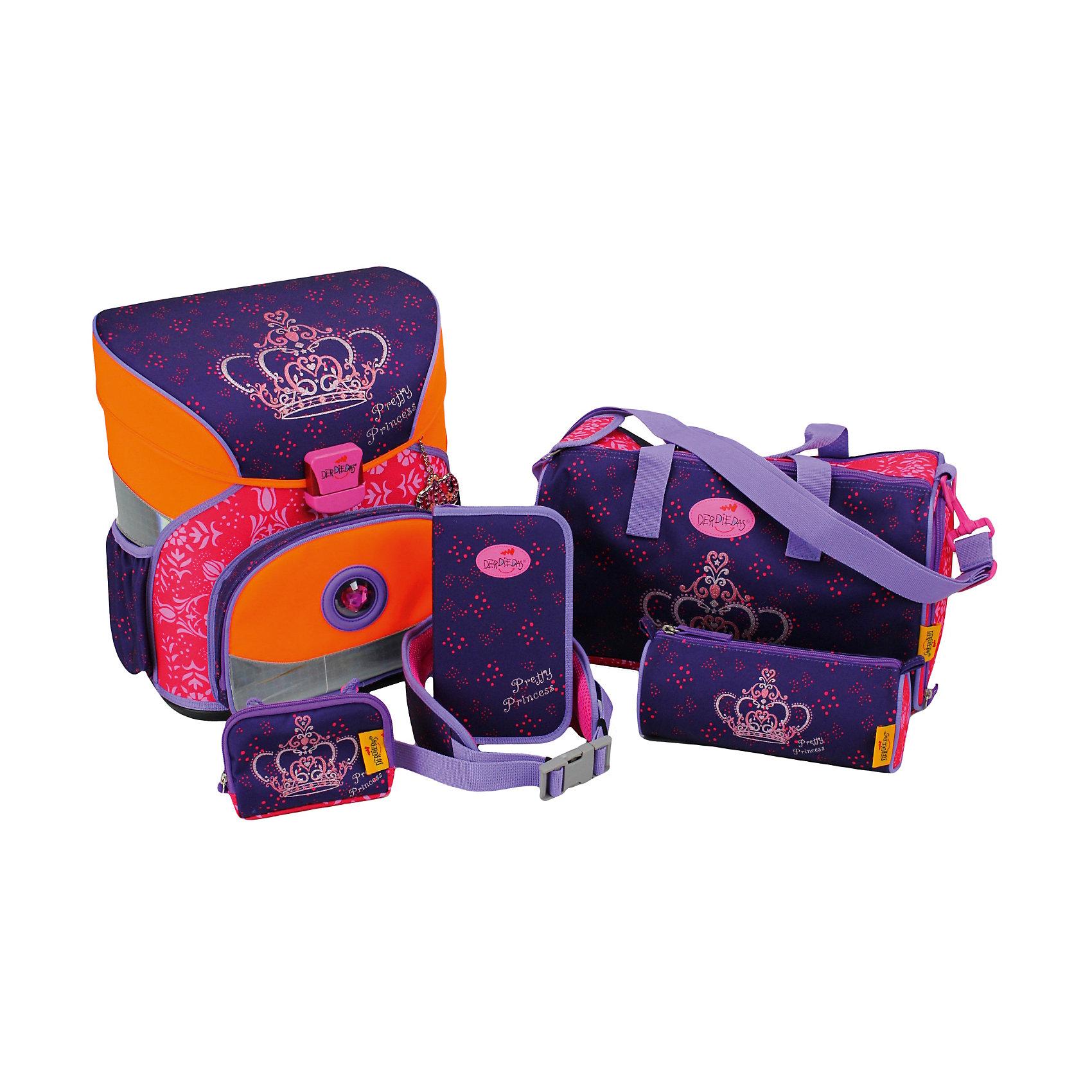 Ранец с наполнением DerDieDas XS Корона принцессыРанцы<br>Вес: 800г.<br>Размер: 36*35*23 см<br>Состав: спортивная сумка, пенал с наполнением, пенал пустой, кошелек на веревочке, поясной ремень.<br>Наличие светоотражающих элементов: да<br>Материал: полиэстер<br>Объем: 17л<br>Спина: жесткая<br>Наличие дополнительных карманов внутри: нет<br>Дно выбрать: жесткое<br>Количество отделений внутри: 2<br>Боковые карманы: есть резинка/молния<br>Замок: защелка<br>Вмещает А4: да<br>Подойдет для возраста какого 6-11 лет для роста 122-146<br>Описание: Школьные ранцы DerDieDas: немецкое качество и надежность<br>Удобство ранца заключается в том, что ортопедический каркас не допускает искривления позвоночника, рационально распределяет нагрузку по всей спине и уменьшает вес ранца.<br>Укороченная ручка слегка смещена к задней  части, поэтому рюкзак неудобно носить в руке, а значит, он будет находиться там, где предусмотрено его расположение – на спине.<br>Светоотражающие полосы Reflexite покрывают 10 % ранца, делая школьника видимым на дороге и днем, и ночью.<br>Спинка и лямки рюкзака выполнены из «дышащей» сетки, благодаря которой спина не потеет, и ребенок чувствует себя комфортно. Лямки выполнены из очень мягкой ткани и легко подгоняются по длине.<br>Прочный и долговечный материал полиэстер отличается высокой износостойкостью.<br>Ранец разработан учеными и врачами специально для учеников младших классов.<br>Качественный и надежный замок, приспособленный для детей, открывается и закрывается без усилий.<br>Внутреннее отделение легко вмещает все школьные принадлежности и учебники.<br>Обшивка рюкзака выполнена из водостойкой ткани, что защищает содержимое ранца от промокания.<br>Устойчивое днище из пластика сохраняет форму ранца и оберегает его от загрязнения и влаги.<br>Ранец не требует специального ухода, легко очищается и устойчив к загрязнениям.<br>Яркие рисунки отличаются стойкостью цвета, не вызывают аллергию и не линяют.<br><br>Ширина мм: 368<br>Глубина мм: 344<br>Высота мм: 231<