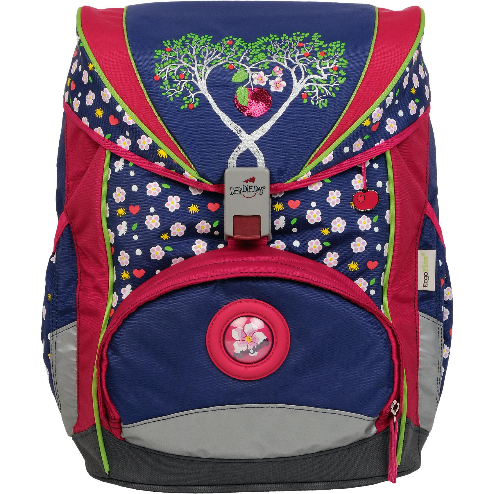 Ранец с наполнением Цветущая яблоня, ErgoflexТакой яркий ранец непременно понравится Вашему малышу. В комплекте с ранцем идут другие нужные аксессуары – два функциональных пенала, сумка для спортивных мероприятий и небольшой кошелек. Все предметы выпущены в едином стиле.<br>Ранец будет чудесным подарком к 1 сентября для Вашего ребенка!<br><br>Особенности:<br>- Спинка рюкзака представляет собой достаточно жесткую анатомическую конструкцию с мягкими подушечками.<br>- Твердое дно с пластиковыми ножками гарантирует устойчивость ранца и защищает его от намокания.<br>- В просторном внутреннем пространстве размещаются учебники, школьные принадлежности и личные вещи.<br>- Нагрудный ремень способствует равномерному распределению веса ранца и обеспечивает плотное прилегание к спине.<br>- Съемный набедренный ремень фиксирует ранец и уменьшает нагрузку на спину.<br>- Уникальный замок с запатентованным механизмом очень удобен в повседневном использовании.<br>- Доступ в боковые карманы возможен без открытия рюкзака.<br>- Небольшой, но вместительный наружный карман предназначен для хранения всевозможных мелочей.<br><br>Спортивная сумка на молнии:<br>-  Сумка, имеющая одно внутреннее отделение, снабжена двумя короткими ручками и длинной регулируемой лямкой. Имеется отдельный карман для обуви, материал – прочный, износостойкий и легко моющийся.<br><br>Закрытый пенал с наполнением на молнии:<br>-  Снабжен дополнительным клапаном.<br>-  В состав пенала входят: чернографитный карандаш - 2 шт., цветной карандаш - 15 шт., линейка 16см - 1 шт., ластик - 1 шт., точилка - 1 шт., расписание уроков - 1 шт., отделение для ручки, мини-кошелек на липучке.<br><br>Пенал без наполнения , на молнии:<br>- Одно отделение.<br><br>Дополнительная информация:<br><br>- Размеры ранца:33 x 40 x 23 см.;<br>- Размеры спортивной сумки: 34х21,5х16см.;<br>- Размеры пенала с наполнением: 20х13,5х2,5 см.;<br>- Пенал без наполнения, на молнии:20х9х7 см. <br>- Объем: 20 л. <br>- Размер упаковки: 23х33х40 см.<br>- Вес