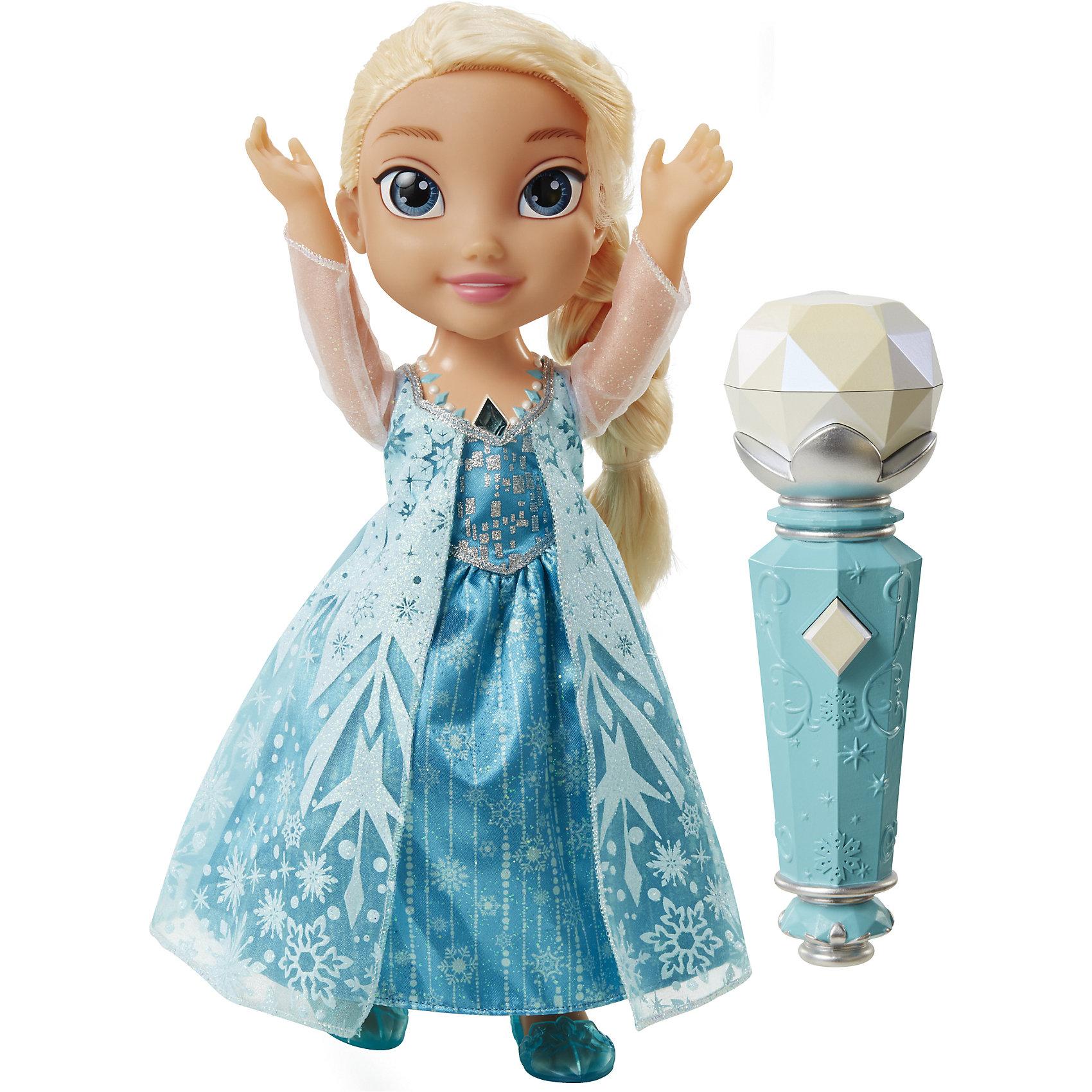 Кукла Эльза с микрофоном, Холодное СердцеИнтерактивная кукла Эльза сделана по образу мультипликационной героини Диснеевского фильма Холодное Сердце. Вместе с этой удивительной куклой можно исполнить главную песню мультфильма Frozen Отпусти и забудь на разных языках.<br><br>Чтобы активировать куклу необходимо дотронуться до волшебного изумрудного амулета на шее Эльзы и поднести вырубленный будто изо льда микрофон к её рту. С помощью этого входящего в комплект ледяного аксессуара можно петь песню вместе с Принцессой Диснея, попеременно поднося микрофон то к своим губам, то к кукольным. Эльза будет запоминать строчку, на которой остановились вы, и продолжать мелодию за вами.<br>Во время исполнения песни некоторые элементы одежды куклы будут мигать и переливаться, создавая по-настоящему сказочное настроение.<br><br>Блестящий костюм куколки в точности соответствует наряду в мультфильме: Эльза носит наряд излегкого текстильного платья голубого цвета, украшенное различными декоративными рисунками на зимнюю тему, которые придают наряду невероятный блеск. Светлые волосы, заплетенные в тугую косу украшает голубая тиара, а на ножках Принцессы Диснея надеты аккуратные балетки.<br><br>Дополнительная информация:<br><br>- Серия: Принцессы Диснея<br>- Материалы: пластик, текстиль<br>- Высота куклы: 30 см<br>- В комплект входит кукла, туфельки, платье, микрофон и подробная инструкция на несколько языках<br>- Игровой набор работает на батарейках. Для Эльзы необходимы 3 х AAA/LR03 1.5V (демонстрационные входят в комплект), для микрофона - 2 х AAA/LR03 1.5V (не входят в комплект).<br><br>Куклу Эльзу, поющую с микрофоном,  Холодное Сердце, Принцессы Дисней можно купить в нашем магазине.<br><br>Ширина мм: 120<br>Глубина мм: 380<br>Высота мм: 310<br>Вес г: 1180<br>Возраст от месяцев: 36<br>Возраст до месяцев: 144<br>Пол: Унисекс<br>Возраст: Детский<br>SKU: 4196417