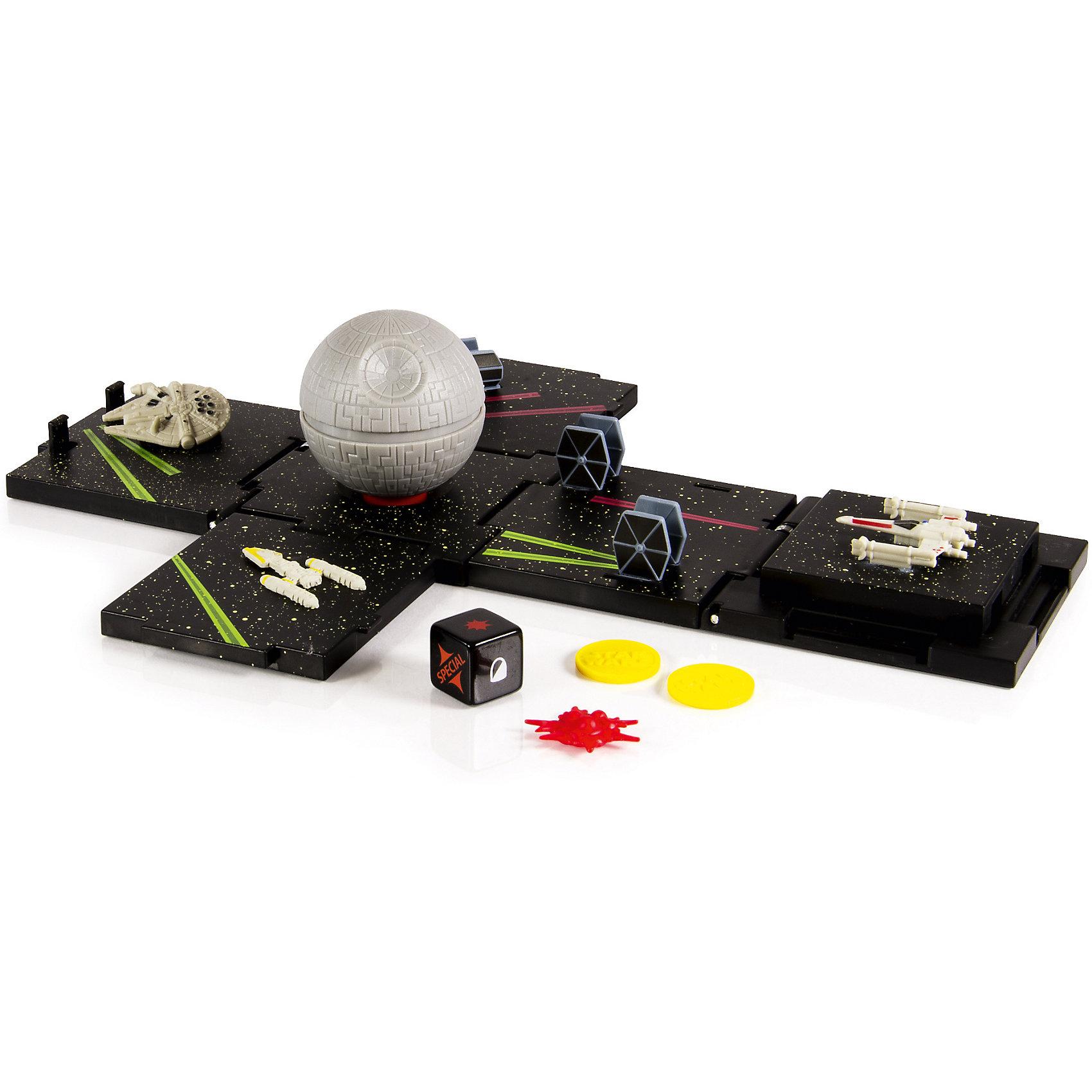 Боевые кубики Звезда смерти, Звездные войны, SpinmasterКоллекционные и игровые фигурки<br>Боевые кубики Звезда смерти, Звездные войны, Spinmaster (Спинмастер) – это уникальная стратегическая игра, с которой можно погрузиться в мир Звездных войн и стать повелителем галактики! В собранном виде боевой кубик Звезда смерти представляет собой куб с длиной ребра 7 сантиметров, но если его разложить он превратится в игровое поле с миниатюрами космических кораблей по мотивам Звездных Войн. Выбери нужную цель и смело бросай игровые кости, чтобы устроить полное поражение своему противнику! <br><br>Комплектация: карта для игры, игровые кости, миниатюрные космические корабли, макет Звезды смерти<br><br>-Дополнительная информация:<br>-Материалы: пластик, картон, бумага<br>-Размер в собранном виде: 7 см, в разобранном виде: 28х19 см<br><br>С этой стратегической игрой можно воспроизвести самые любимые сцены из киноленты!<br><br>Боевые кубики Звезда смерти, Звездные войны, Spinmaster (Спинмастер) можно купить в нашем магазине.<br><br>Ширина мм: 60<br>Глубина мм: 300<br>Высота мм: 290<br>Вес г: 650<br>Возраст от месяцев: 72<br>Возраст до месяцев: 144<br>Пол: Мужской<br>Возраст: Детский<br>SKU: 4196418