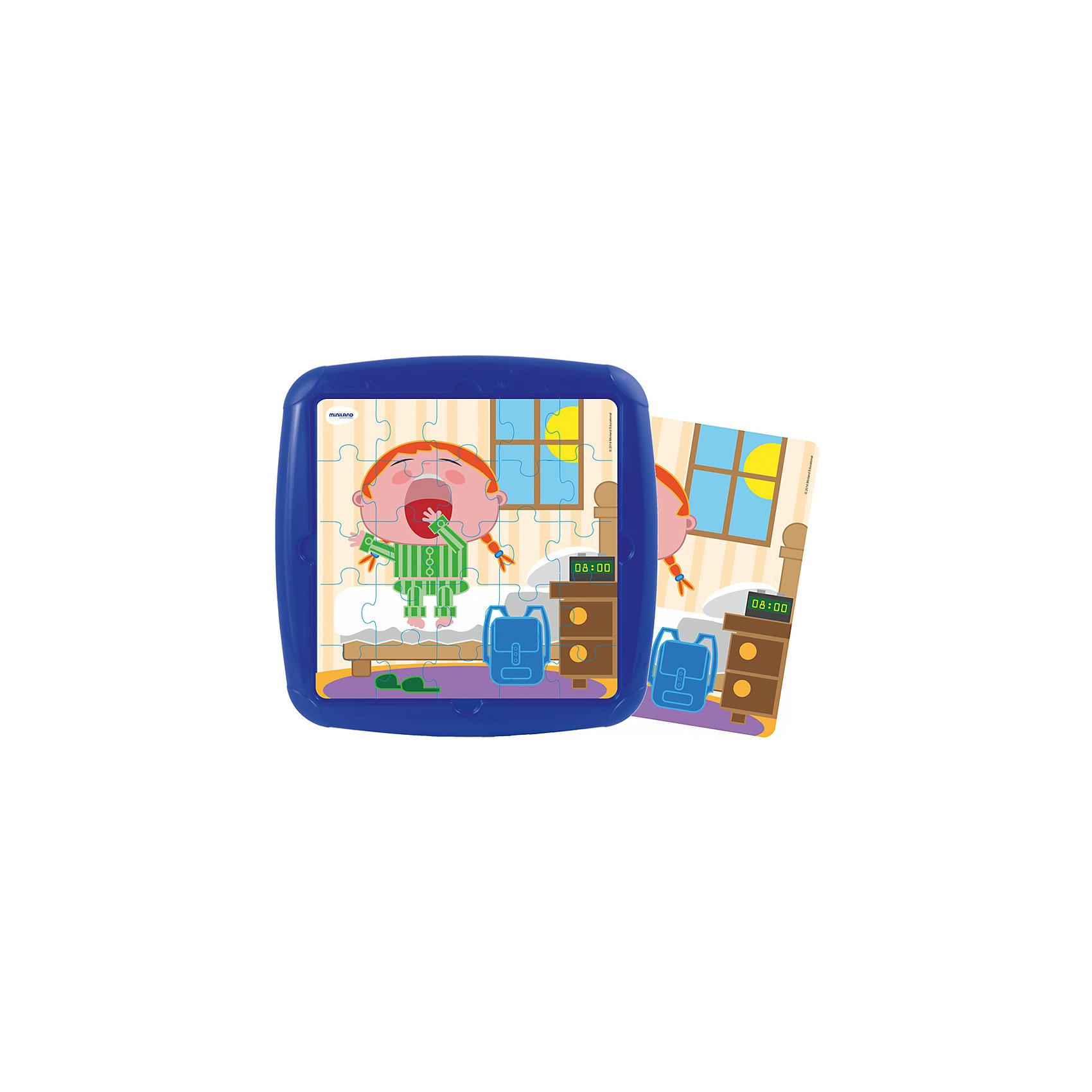 Пазл Распорядок дня. Подъем, MinilandПазл Распорядок дня. Подъем, Miniland (Миниленд) – этот пазл замечательный и полезный подарок для вашего ребенка.<br>В наборе 25 пластиковых элементов пазла, которые удобно собираются в пластиковом контейнере. Для правильности сборки предлагается трафарет из пластиковой пленки с рисунком. Собирая пазл, ребенок развивает мелкую моторику, внимательность и усидчивость.<br><br>Дополнительная информация:<br><br>- В наборе: пазл 25 элементов, трафарет<br>- Размер собранного пазла: 21 х 21 см.<br>- Материал: высококачественный пластик<br>- Размер упаковки: 26,5 х 26,5 х 1 см.<br>- Вес: 300 гр.<br><br>Пазл Распорядок дня. Подъем, Miniland (Миниленд) можно купить в нашем интернет-магазине.<br><br>Ширина мм: 265<br>Глубина мм: 265<br>Высота мм: 10<br>Вес г: 300<br>Возраст от месяцев: 36<br>Возраст до месяцев: 84<br>Пол: Унисекс<br>Возраст: Детский<br>SKU: 4198177