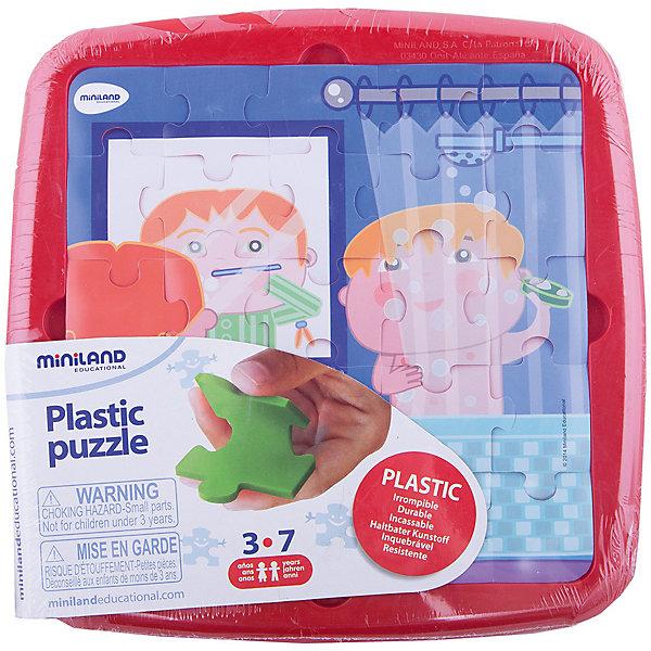 Пазл Распорядок дня. Умывание, MinilandПазлы для малышей<br>Пазл Распорядок дня. Умывание, Miniland (Миниленд) – этот пазл замечательный и полезный подарок для вашего ребенка.<br>В наборе 25 пластиковых элементов пазла, которые удобно собираются в пластиковом контейнере. Для правильности сборки предлагается трафарет из пластиковой пленки с рисунком. Собирая пазл, ребенок развивает мелкую моторику, внимательность и усидчивость.<br><br>Дополнительная информация:<br><br>- В наборе: пазл 25 элементов, трафарет<br>- Размер собранного пазла: 21 х 21 см.<br>- Материал: высококачественный пластик<br>- Размер упаковки: 26,5 х 26,5 х 1 см.<br>- Вес: 300 гр.<br><br>Пазл Распорядок дня. Умывание, Miniland (Миниленд) можно купить в нашем интернет-магазине.<br>Ширина мм: 265; Глубина мм: 265; Высота мм: 10; Вес г: 300; Возраст от месяцев: 36; Возраст до месяцев: 84; Пол: Унисекс; Возраст: Детский; SKU: 4198178;