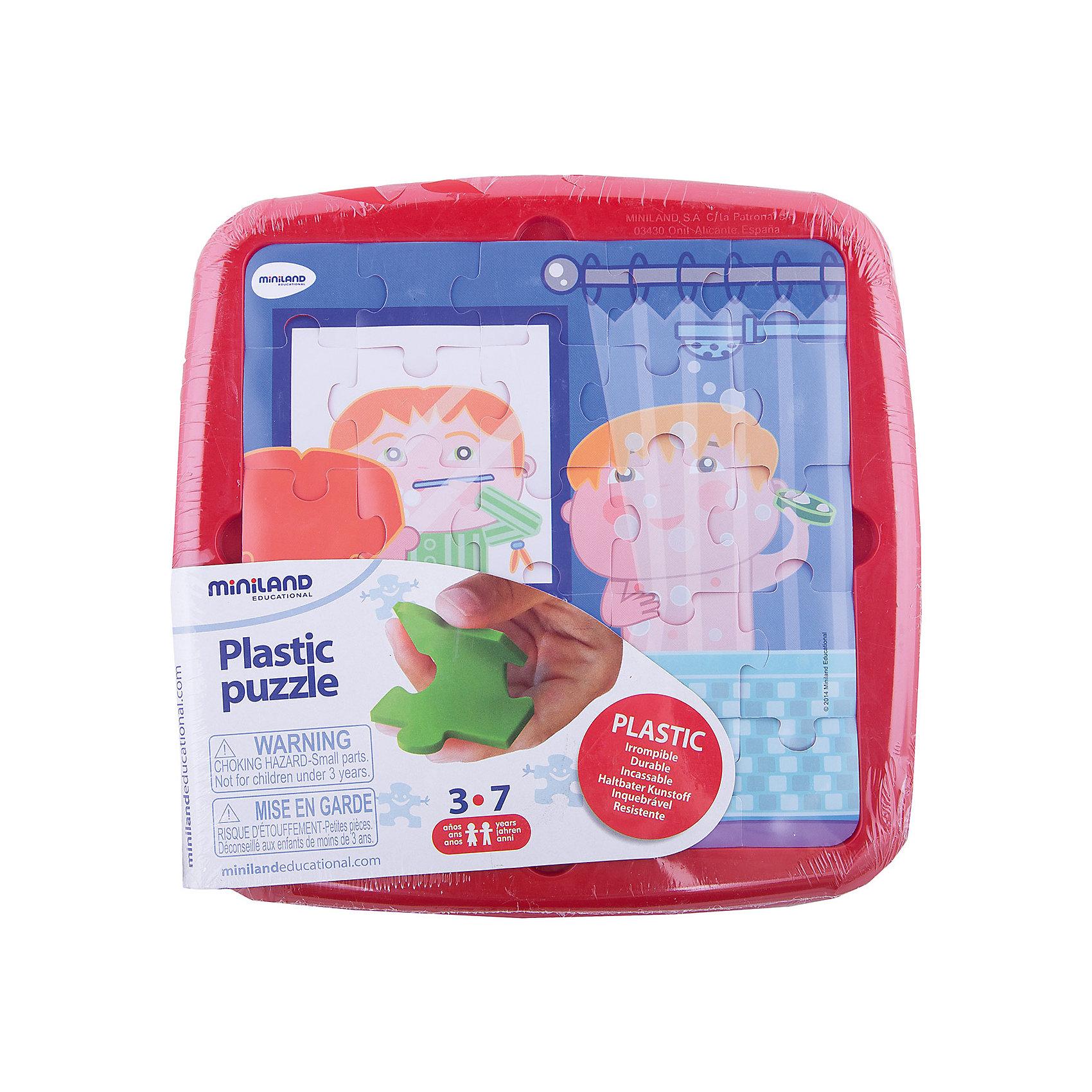 Пазл Распорядок дня. Умывание, MinilandПазлы для малышей<br>Пазл Распорядок дня. Умывание, Miniland (Миниленд) – этот пазл замечательный и полезный подарок для вашего ребенка.<br>В наборе 25 пластиковых элементов пазла, которые удобно собираются в пластиковом контейнере. Для правильности сборки предлагается трафарет из пластиковой пленки с рисунком. Собирая пазл, ребенок развивает мелкую моторику, внимательность и усидчивость.<br><br>Дополнительная информация:<br><br>- В наборе: пазл 25 элементов, трафарет<br>- Размер собранного пазла: 21 х 21 см.<br>- Материал: высококачественный пластик<br>- Размер упаковки: 26,5 х 26,5 х 1 см.<br>- Вес: 300 гр.<br><br>Пазл Распорядок дня. Умывание, Miniland (Миниленд) можно купить в нашем интернет-магазине.<br><br>Ширина мм: 265<br>Глубина мм: 265<br>Высота мм: 10<br>Вес г: 300<br>Возраст от месяцев: 36<br>Возраст до месяцев: 84<br>Пол: Унисекс<br>Возраст: Детский<br>SKU: 4198178