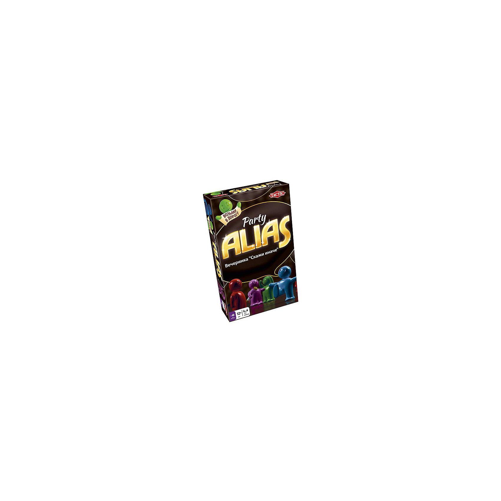 Игра для вечеринки Скажи иначе, компактная версия 2, Tactic GamesИгра для вечеринки Скажи иначе (Alias), компактная версия 2, Tactic Games (Тактик Геймс) – это захватывающая игра мини-формата.<br>Новая компактная версия игры Alias  для вечеринки в новой разноцветной коробке. Настоящее счастье для поклонников настольной игры «Скажи иначе», ведь эта версия включает в себя новые слова и карточки, поэтому можно устроить раунд любимой игры со свежими идеями и силами! Компактная версия игры позволит брать ее куда угодно: в любое путешествие, поездку на природу или в гости. Играть можно и при дефиците свободного места, ведь в компактном варианте отсутствует игровое поле и фишки. Теперь не придется искать стол или другую ровную поверхность для игры. От обычной версии, игра для вечеринки Скажи иначе отличается наличием особенных карточек с изображениями известных людей, которых тоже предстоит показать. Помимо прочего, вас ждут такие задания, как, например, продемонстрировать разные эмоции, а еще вы можете внести в карточки от руки имена друзей и других знаменитостей, сделав игру еще интереснее и веселее! Играйте всей семьей, развивайте эрудицию, скорость реакции, воображение и сообразительность, улучшайте словарный запас и веселитесь от души! Все детали игры безопасны и сделаны из материалов высокого качества. <br><br>Дополнительная информация:<br><br>- В комплекте: карточки-задания, песочные часы для отсчета времени хода, игровой блокнот, карандаш, подробные правила на русском языке<br>- Количество игроков: от 4 человек<br>- Возраст: от 12 лет и старше<br>- Время игры: более 30 мин.<br>- Материал: картон, пластик<br>- Размер коробки: 11 х 18 х 3,6 см.<br>- Вес: 262 гр.<br><br>Игру для вечеринки Скажи иначе, компактная версия 2, Tactic Games (Тактик Геймс) можно купить в нашем интернет-магазине.<br><br>Ширина мм: 110<br>Глубина мм: 180<br>Высота мм: 36<br>Вес г: 262<br>Возраст от месяцев: 144<br>Возраст до месяцев: 216<br>Пол: Унисекс<br>Возраст: Детский<br>SKU: 4200149