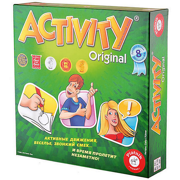 Игра Activity 2: Юбилейное издание, PiatnikНастольные игры для всей семьи<br>Игра Activity 2: Юбилейное издание (Активити), Piatnik (Пиатник) – это активные движения, веселье и звонкий смех.<br>Новая версия всемирно популярной настольной игры – Активити 2 «Юбилейное издание» порадует своих поклонников новым дизайном. Правила игры прежние. Задача игроков – в соответствии с карточками объяснить слово с помощью антонимов, либо изобразить его при помощи языка тела, либо нарисовать картинку. Главное, сделать всё как можно быстрее. Время ограничивается при помощи песочных часов, которые идут в комплекте. Такая игра направлена на развитие навыков общения и просто хорошее времяпрепровождение. Вы наверняка не заметите, как пролетит вечер с Активити 2!<br><br>Дополнительная информация:<br><br>- В комплекте настольной игры: 330 карточек со словами (на каждой - по 6 слов), 4 фишки, игровое поле, песочные часы, правила игры на русском языке<br>- Количество игроков: от 3 до 16 человек<br>- Возраст: от 12 лет<br>- Время игры: более 30 мин.<br>- Материал: картон, пластик<br>- Размер коробки: 29,5 х 29,5 х 7 см.<br>- Вес: 1 кг.<br><br>Игру Activity 2: Юбилейное издание, Piatnik (Пиатник) можно купить в нашем интернет-магазине.<br><br>Ширина мм: 295<br>Глубина мм: 295<br>Высота мм: 70<br>Вес г: 1000<br>Возраст от месяцев: 144<br>Возраст до месяцев: 216<br>Пол: Унисекс<br>Возраст: Детский<br>SKU: 4200152