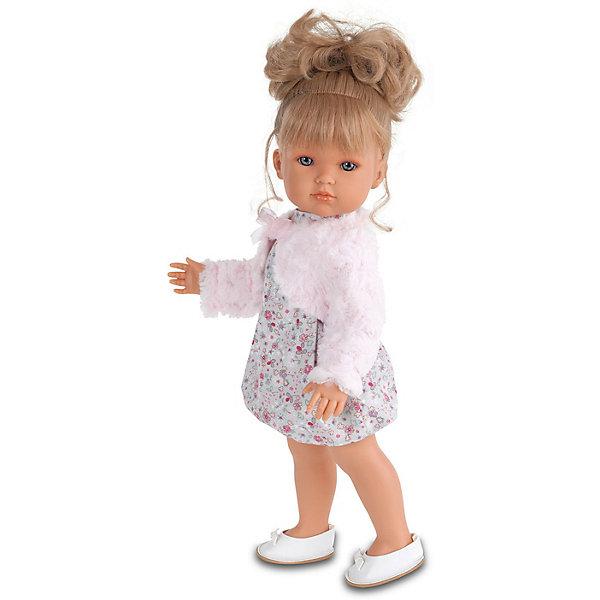 Кукла Белла  в розовом болеро, 45 см, Munecas Antonio JuanИдеи подарков<br>Кукла Белла  в розовом болеро, 45 см, Munecas Antonio Juan (Мунекас Антонио Хуан) – эта маленькая кокетка очарует и взрослых, и детей.<br>Кукла Белла от испанского производителя Мунекас Антонио Хуан выглядит как настоящая девочка, а ее трогательный внешний вид вызывает только самые положительные и добрые эмоции. Эта чудесная милая малышка станет любимицей Вашей девочки и будет воспитывать в ней доброту, внимание и заботу. У куклы-девочки очаровательное детское лицо, выполненное с тщательной прорисовкой деталей. Выразительные глаза обрамлены длинными ресницами. Ее густые шелковистые волосы собраны в хвостик. Их легко расчесывать и делать различные прически. Чудесный наряд куклы создан испанским дизайнером. Кукла одета в стильное платье в мелкий рисунок, пушистое розовое болеро, на ногах у нее туфельки. У куклы подвижны руки, ноги и голова. Изготовлена из высококачественного винила с добавлением силикона. Образы малышей Мунекас разработаны известными европейскими дизайнерами. Они натуралистичны, анатомически точны.<br><br>Дополнительная информация:<br><br>- Глаза куклы не закрываются<br>- Высота куклы: 45 см.<br>- Материал: винил, силикон, текстиль<br><br>Куклу Беллу в розовом болеро, 45 см, Munecas Antonio Juan (Мунекас Антонио Хуан) можно купить в нашем интернет-магазине.<br><br>Ширина мм: 530<br>Глубина мм: 275<br>Высота мм: 135<br>Вес г: 1525<br>Возраст от месяцев: 36<br>Возраст до месяцев: 84<br>Пол: Женский<br>Возраст: Детский<br>SKU: 4201301