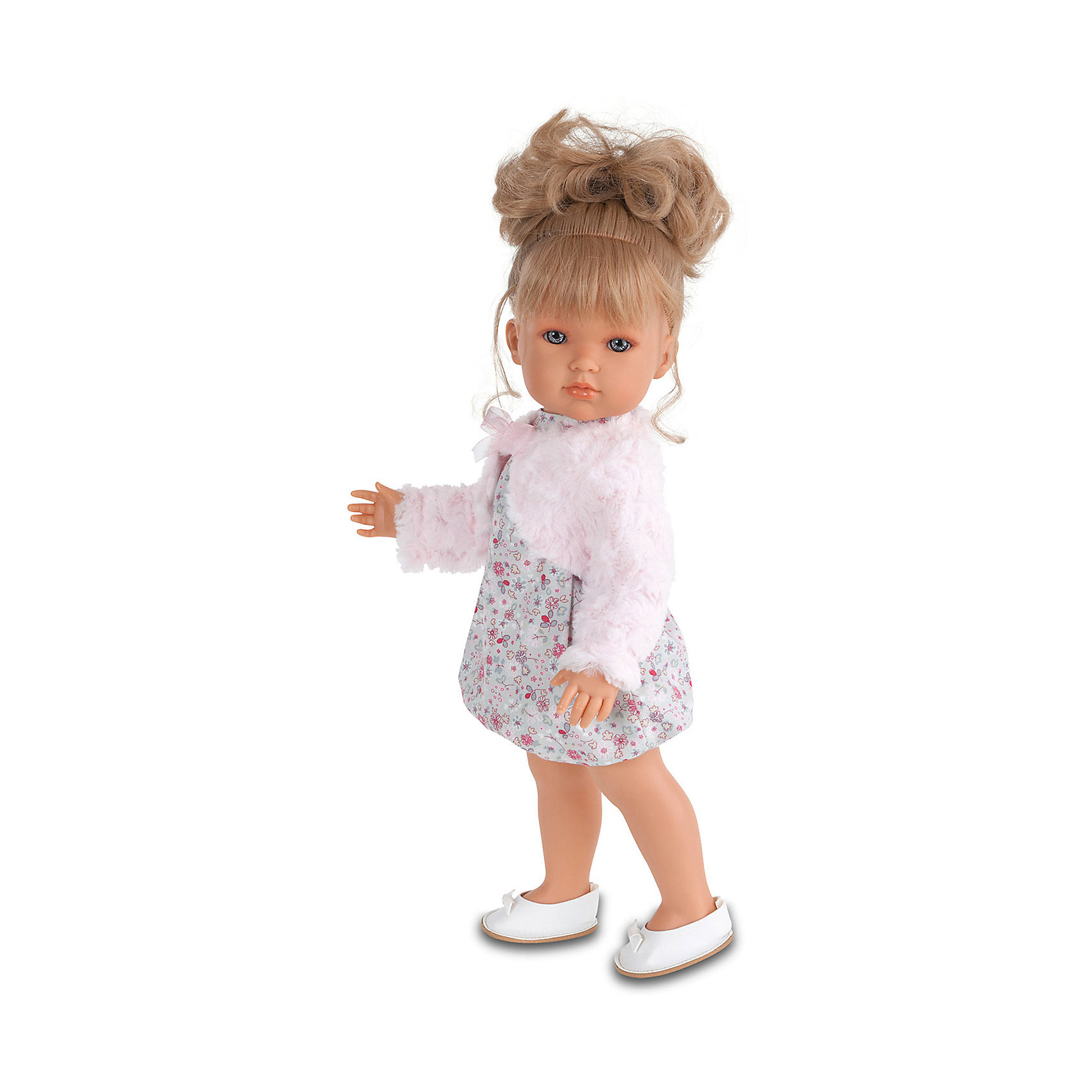Кукла Белла  в розовом болеро, 45 см, Munecas Antonio JuanКукла Белла  в розовом болеро, 45 см, Munecas Antonio Juan (Мунекас Антонио Хуан) – эта маленькая кокетка очарует и взрослых, и детей.<br>Кукла Белла от испанского производителя Мунекас Антонио Хуан выглядит как настоящая девочка, а ее трогательный внешний вид вызывает только самые положительные и добрые эмоции. Эта чудесная милая малышка станет любимицей Вашей девочки и будет воспитывать в ней доброту, внимание и заботу. У куклы-девочки очаровательное детское лицо, выполненное с тщательной прорисовкой деталей. Выразительные глаза обрамлены длинными ресницами. Ее густые шелковистые волосы собраны в хвостик. Их легко расчесывать и делать различные прически. Чудесный наряд куклы создан испанским дизайнером. Кукла одета в стильное платье в мелкий рисунок, пушистое розовое болеро, на ногах у нее туфельки. У куклы подвижны руки, ноги и голова. Изготовлена из высококачественного винила с добавлением силикона. Образы малышей Мунекас разработаны известными европейскими дизайнерами. Они натуралистичны, анатомически точны.<br><br>Дополнительная информация:<br><br>- Глаза куклы не закрываются<br>- Высота куклы: 45 см.<br>- Материал: винил, силикон, текстиль<br><br>Куклу Беллу в розовом болеро, 45 см, Munecas Antonio Juan (Мунекас Антонио Хуан) можно купить в нашем интернет-магазине.<br><br>Ширина мм: 530<br>Глубина мм: 275<br>Высота мм: 135<br>Вес г: 1525<br>Возраст от месяцев: 36<br>Возраст до месяцев: 84<br>Пол: Женский<br>Возраст: Детский<br>SKU: 4201301