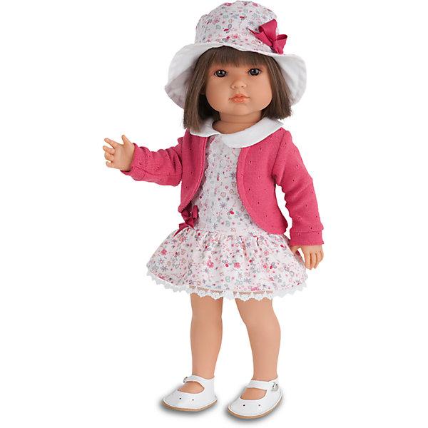 Кукла Белла  в шляпке, 45 см,  Munecas Antonio JuanИдеи подарков<br>Кукла Белла  в шляпке, 45 см,  Munecas Antonio Juan (Мунекас Антонио Хуан) – эта маленькая кокетка очарует и взрослых, и детей.<br>Кукла Белла от испанского производителя Мунекас Антонио Хуан выглядит как настоящая девочка, а ее трогательный внешний вид вызывает только самые положительные и добрые эмоции. Эта чудесная милая малышка станет любимицей Вашей девочки и будет воспитывать в ней доброту, внимание и заботу. У куклы-девочки очаровательное детское лицо, выполненное с тщательной прорисовкой деталей. Выразительные глаза обрамлены длинными ресницами. Ее густые шелковистые волосы легко расчесывать и делать различные прически. Чудесный наряд куклы создан испанским дизайнером. Кукла одета в трикотажную кофточку и в светлое платье в мелкий рисунок, которое гармонирует со шляпкой, на ногах у нее туфельки. У куклы подвижны руки, ноги и голова. Изготовлена из высококачественного винила с добавлением силикона. Образы малышей Мунекас разработаны известными европейскими дизайнерами. Они натуралистичны, анатомически точны.<br><br>Дополнительная информация:<br><br>- Глаза куклы не закрываются<br>- Высота куклы: 45 см.<br>- Материал: винил, силикон, текстиль<br><br>Куклу Беллу в шляпке, 45 см, Munecas Antonio Juan (Мунекас Антонио Хуан) можно купить в нашем интернет-магазине.<br><br>Ширина мм: 530<br>Глубина мм: 275<br>Высота мм: 135<br>Вес г: 1525<br>Возраст от месяцев: 36<br>Возраст до месяцев: 84<br>Пол: Женский<br>Возраст: Детский<br>SKU: 4201302