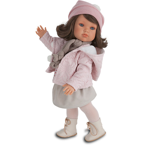 Кукла Белла Зимний наряд, 45 см, Munecas Antonio JuanИдеи подарков<br>Кукла Белла Зимний наряд, 45 см, Munecas Antonio Juan (Мунекас Антонио Хуан) – эта маленькая кокетка очарует и взрослых, и детей.<br>Кукла Белла от испанского производителя Мунекас Антонио Хуан выглядит как настоящая девочка, а ее трогательный внешний вид вызывает только самые положительные и добрые эмоции. Эта чудесная милая малышка станет любимицей Вашей девочки и будет воспитывать в ней доброту, внимание и заботу. У куклы-девочки очаровательное детское лицо, выполненное с тщательной прорисовкой деталей. Выразительные глаза обрамлены длинными ресницами. Ее густые шелковистые волосы легко расчесывать и делать различные прически. Чудесный наряд куклы создан испанским дизайнером. Кукла одета в стильное серое платье, теплую куртку. На ногах у нее теплые колготки и сапожки. Шарфик и шапочка с помпоном гармонично дополняет образ куклы. У куклы подвижны руки, ноги и голова. Изготовлена из высококачественного винила с добавлением силикона. Образы малышей Мунекас разработаны известными европейскими дизайнерами. Они натуралистичны, анатомически точны.<br><br>Дополнительная информация:<br><br>- Глаза куклы не закрываются<br>- Высота куклы: 45 см.<br>- Материал: винил, силикон, текстиль<br><br>Куклу Беллу Зимний наряд, 45 см, Munecas Antonio Juan (Мунекас Антонио Хуан) можно купить в нашем интернет-магазине.<br>Ширина мм: 530; Глубина мм: 275; Высота мм: 135; Вес г: 1525; Возраст от месяцев: 36; Возраст до месяцев: 84; Пол: Женский; Возраст: Детский; SKU: 4201304;