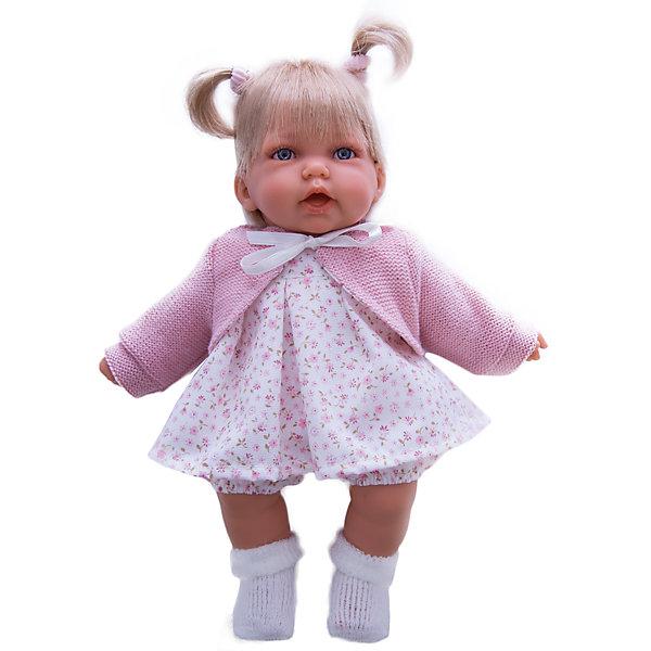 Кукла Элис в розовом, 27 см, Munecas Antonio JuanКуклы<br>Кукла Элис в розовом, 27 см, Munecas Antonio Juan (Мунекас Антонио Хуан) - эта очаровательная малышка покорит и детей, и родителей.<br>Кукла Элис выглядит как настоящий ребенок, а ее трогательный внешний вид вызывает только самые положительные и добрые эмоции. Эта чудесная милая малышка станет любимицей Вашей девочки и будет воспитывать в ней доброту, внимание и заботу. Личико куклы сделано с детальными прорисовками. Пухлые щечки и губки, выразительные глаза придают игрушке реалистичный вид. Ротик у куклы приоткрыт. Малышка Элис одета светлое платье в мелкий рисунок, розовую кофточку и белые носочки. Волосы завязаны в два хвостика. При нажатии на животик куклы, она весело смеется, а так же может позвать маму и папу. Тельце у куклы мягко-набивное, голова, ручки и ножки сделаны из высококачественного винила. Ручки и ножки подвижны. Кукла изготовлена из высококачественных и экологически чистых материалов, поэтому безопасна для детей любого возраста, соответствует всем нормам и требованиям к качеству детских товаров. Образы малышей Мунекас разработаны известными европейскими дизайнерами. Они натуралистичны, анатомически точны.<br><br>Дополнительная информация:<br><br>- Интерактивные функции куклы: нажмите на животик 1 раз кукла засмеется, 2ой раз - кукла скажет мама, 3ий раз - скажет папа<br>- Глаза куклы не закрываются<br>- Высоты куклы: 27 см.<br>- Работает от 3-х батареек LR44 (таблетки) (батарейки входят в комплект)<br>- Материал: винил, текстиль<br><br>Куклу Элис в розовом, 27 см, Munecas Antonio Juan (Мунекас Антонио Хуан) можно купить в нашем интернет-магазине.<br><br>Ширина мм: 315<br>Глубина мм: 180<br>Высота мм: 145<br>Вес г: 650<br>Возраст от месяцев: 36<br>Возраст до месяцев: 84<br>Пол: Женский<br>Возраст: Детский<br>SKU: 4201309