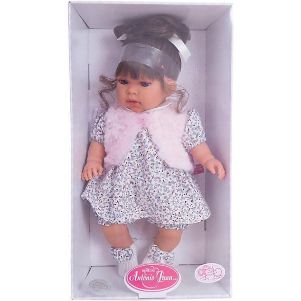 Кукла Лучия в белом, 37 см, Munecas Antonio JuanКуклы<br>Кукла Лучия в белом, 37 см, Munecas Antonio Juan (Мунекас Антонио Хуан) - эта очаровательная малышка покорит и детей, и родителей.<br>Кукла Лучия выглядит как настоящий ребенок, а ее трогательный внешний вид вызывает только самые положительные и добрые эмоции. Эта чудесная милая малышка станет любимицей Вашей девочки и будет воспитывать в ней доброту, внимание и заботу. Личико куклы сделано с детальными прорисовками. Пухлые щечки и губки, выразительные глаза, обрамленные пушистыми ресничками, придают игрушке реалистичный вид. Ротик у куклы приоткрыт. Малышка Лучия одета светлое платье в мелкий рисунок, жилетку и белые пинетки с бантиками. Волосы собраны в хвостик. При нажатии на животик куклы, она весело смеется, а так же может позвать маму и папу. Тельце у куклы мягко-набивное, голова, ручки и ножки сделаны из высококачественного винила. Ручки и ножки подвижны. Кукла изготовлена из высококачественных и экологически чистых материалов, поэтому безопасна для детей любого возраста, соответствует всем нормам и требованиям к качеству детских товаров. Образы малышей Мунекас разработаны известными европейскими дизайнерами. Они натуралистичны, анатомически точны.<br><br>Дополнительная информация:<br><br>- Интерактивные функции куклы: нажмите на животик 1 раз кукла засмеется, 2ой раз - кукла скажет мама, 3ий раз - скажет папа<br>- Глаза куклы не закрываются<br>- Высоты куклы: 37 см.<br>- Работает от 3-х батареек LR44 (таблетки) (батарейки входят в комплект)<br>- Материал: винил, текстиль<br><br>Куклу Лучия в белом, 37 см, Munecas Antonio Juan (Мунекас Антонио Хуан) можно купить в нашем интернет-магазине.<br><br>Ширина мм: 440<br>Глубина мм: 245<br>Высота мм: 120<br>Вес г: 650<br>Возраст от месяцев: 36<br>Возраст до месяцев: 84<br>Пол: Женский<br>Возраст: Детский<br>SKU: 4201312