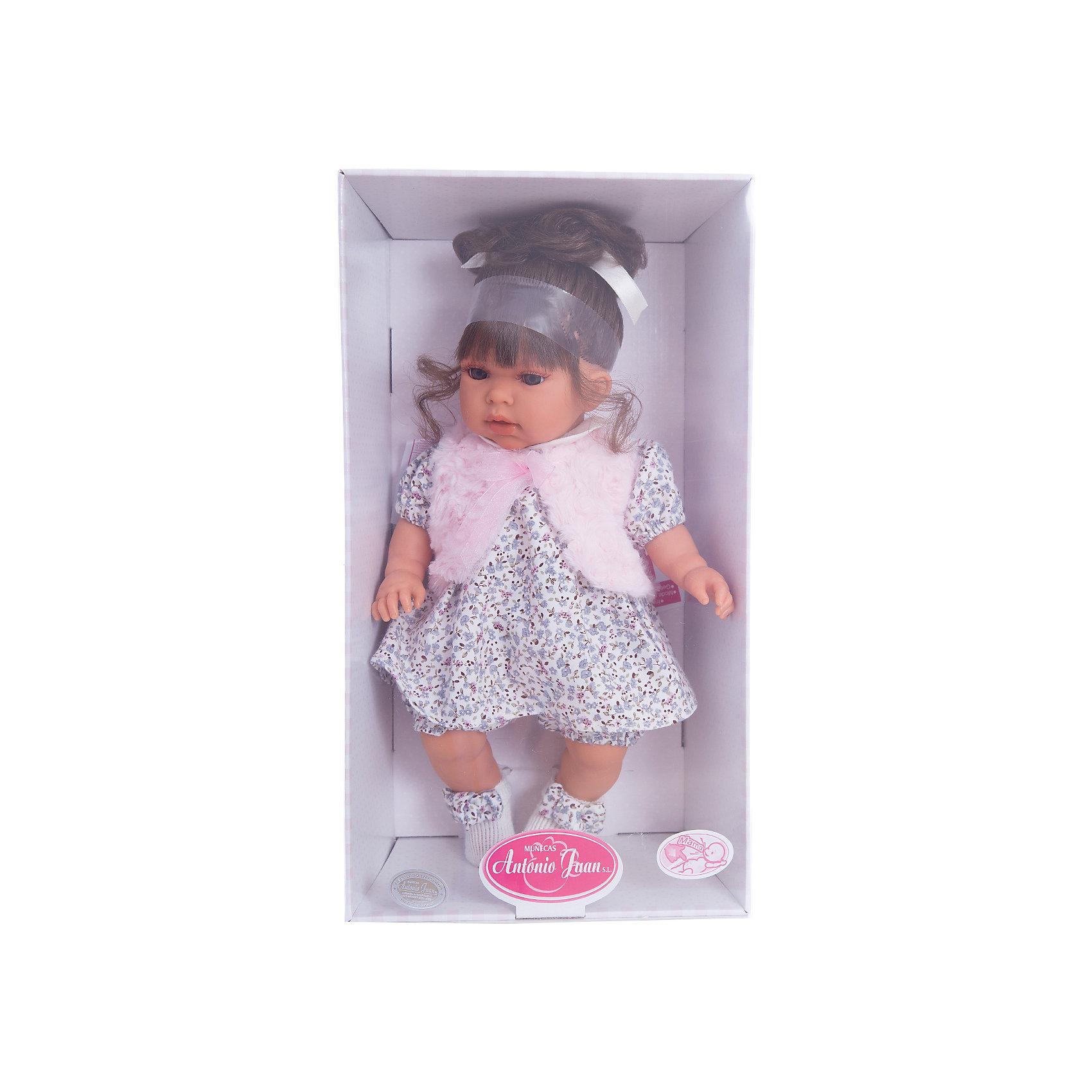Кукла Лучия в белом, 37 см, Munecas Antonio JuanИнтерактивные куклы<br>Кукла Лучия в белом, 37 см, Munecas Antonio Juan (Мунекас Антонио Хуан) - эта очаровательная малышка покорит и детей, и родителей.<br>Кукла Лучия выглядит как настоящий ребенок, а ее трогательный внешний вид вызывает только самые положительные и добрые эмоции. Эта чудесная милая малышка станет любимицей Вашей девочки и будет воспитывать в ней доброту, внимание и заботу. Личико куклы сделано с детальными прорисовками. Пухлые щечки и губки, выразительные глаза, обрамленные пушистыми ресничками, придают игрушке реалистичный вид. Ротик у куклы приоткрыт. Малышка Лучия одета светлое платье в мелкий рисунок, жилетку и белые пинетки с бантиками. Волосы собраны в хвостик. При нажатии на животик куклы, она весело смеется, а так же может позвать маму и папу. Тельце у куклы мягко-набивное, голова, ручки и ножки сделаны из высококачественного винила. Ручки и ножки подвижны. Кукла изготовлена из высококачественных и экологически чистых материалов, поэтому безопасна для детей любого возраста, соответствует всем нормам и требованиям к качеству детских товаров. Образы малышей Мунекас разработаны известными европейскими дизайнерами. Они натуралистичны, анатомически точны.<br><br>Дополнительная информация:<br><br>- Интерактивные функции куклы: нажмите на животик 1 раз кукла засмеется, 2ой раз - кукла скажет мама, 3ий раз - скажет папа<br>- Глаза куклы не закрываются<br>- Высоты куклы: 37 см.<br>- Работает от 3-х батареек LR44 (таблетки) (батарейки входят в комплект)<br>- Материал: винил, текстиль<br><br>Куклу Лучия в белом, 37 см, Munecas Antonio Juan (Мунекас Антонио Хуан) можно купить в нашем интернет-магазине.<br><br>Ширина мм: 440<br>Глубина мм: 245<br>Высота мм: 120<br>Вес г: 650<br>Возраст от месяцев: 36<br>Возраст до месяцев: 84<br>Пол: Женский<br>Возраст: Детский<br>SKU: 4201312