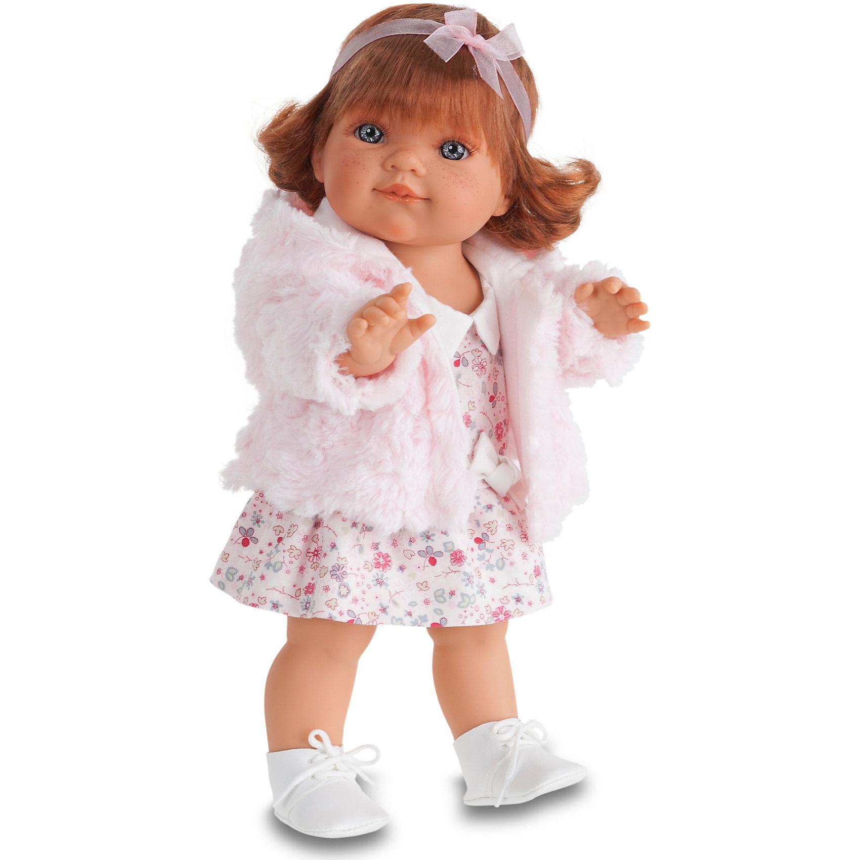 Кукла Клаудия, 38 см, Munecas Antonio JuanКукла Клаудия, 38 см, Munecas Antonio Juan (Мунекас Антонио Хуан) - эта очаровательная малышка покорит и детей, и родителей.<br>Кукла Клаудия от испанского производителя Мунекас Антонио Хуан выглядит как настоящая девочка, а ее трогательный внешний вид вызывает только самые положительные и добрые эмоции .Эта чудесная милая малышка станет любимицей Вашей девочки и будет воспитывать в ней доброту, внимание и заботу. У куклы-девочки очаровательное детское лицо, выполненное с тщательной прорисовкой деталей. Выразительные глаза обрамлены длинными ресницами. Ее густые шелковистые волосы перевязаны лентой. Их легко расчесывать и делать различные прически. Кукла одета в стильное светлое платье в мелкий рисунок, пушистую кофточку, на ногах у нее туфельки. У куклы подвижны руки, ноги и голова. Изготовлена из высококачественного винила. Образы малышей Мунекас разработаны известными европейскими дизайнерами. Они натуралистичны, анатомически точны.<br><br>Дополнительная информация:<br><br>- Глаза куклы не закрываются<br>- Высоты куклы: 38 см.<br>- Материал: винил, текстиль<br><br>Куклу Клаудия, 38 см, Munecas Antonio Juan (Мунекас Антонио Хуан) можно купить в нашем интернет-магазине.<br><br>Ширина мм: 440<br>Глубина мм: 245<br>Высота мм: 120<br>Вес г: 650<br>Возраст от месяцев: 36<br>Возраст до месяцев: 84<br>Пол: Женский<br>Возраст: Детский<br>SKU: 4201314