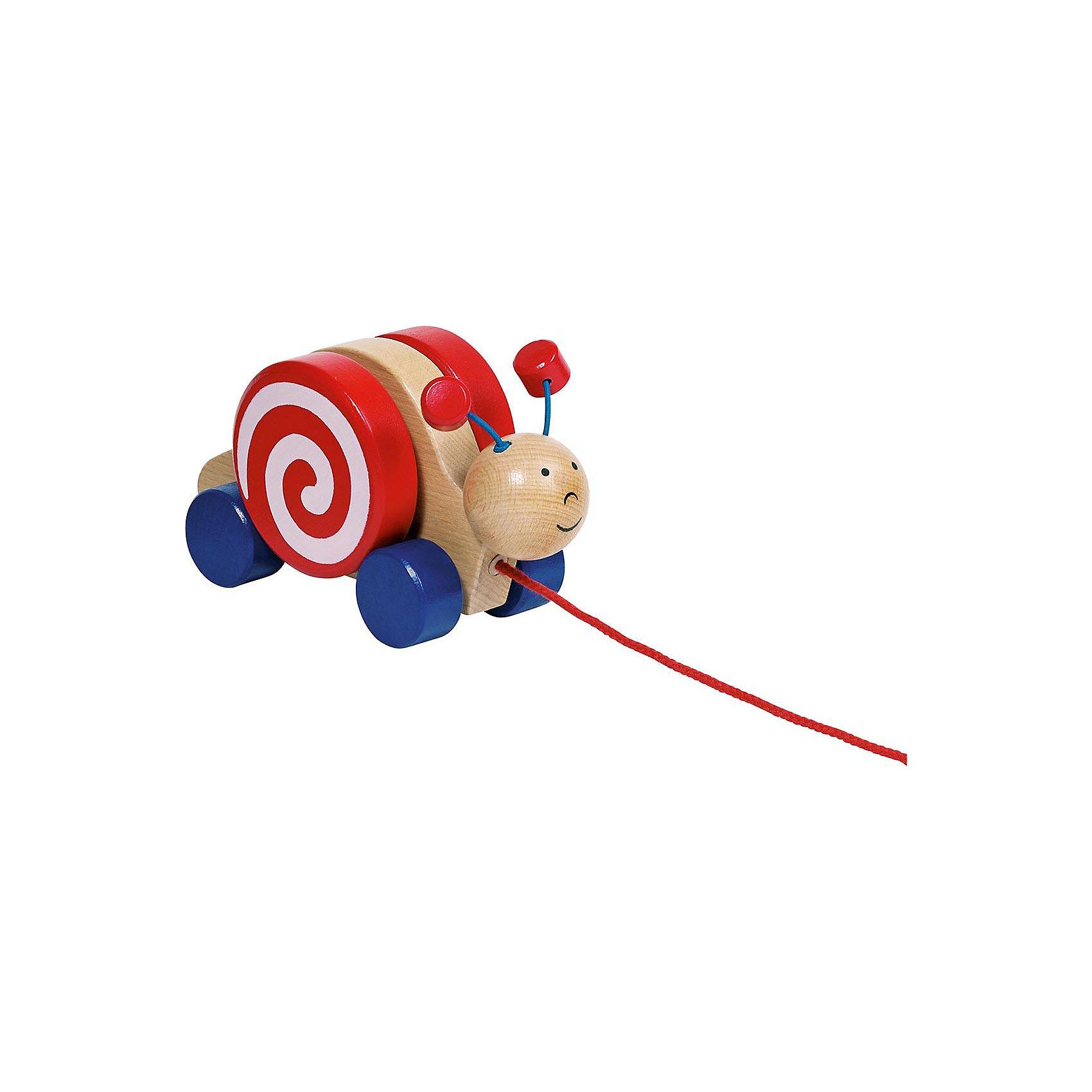 Каталка Улитка, gokiКаталка Улитка, goki (гоки) - это традиционная каталка с веревочкой, на четырех колесах.<br>Каталка на четырех колесиках Goki Улитка прекрасно подойдет для игры дома или на свежем воздухе. Каталка выполнена в виде веселой улитки с забавными подвижными рожками. Чтобы каталка двигалась, нужно только тянуть за шнурок. Каталка изготовлена из высококачественной древесины, не имеет острых углов, и окрашена стойкими яркими красками на водной основе. Игры с каталкой стимулируют двигательную активность ребенка, развивают координацию движений и наглядно-действенное мышление.<br><br>Дополнительная информация:<br><br>- Материал: древесина<br>- Размер каталки: 17 x 9 x 7 см.<br>- Длина шнурка: 66 см.<br><br>Каталку Улитка, goki (гоки) можно купить в нашем интернет-магазине.<br><br>Ширина мм: 189<br>Глубина мм: 108<br>Высота мм: 81<br>Вес г: 340<br>Возраст от месяцев: 12<br>Возраст до месяцев: 24<br>Пол: Унисекс<br>Возраст: Детский<br>SKU: 4201404
