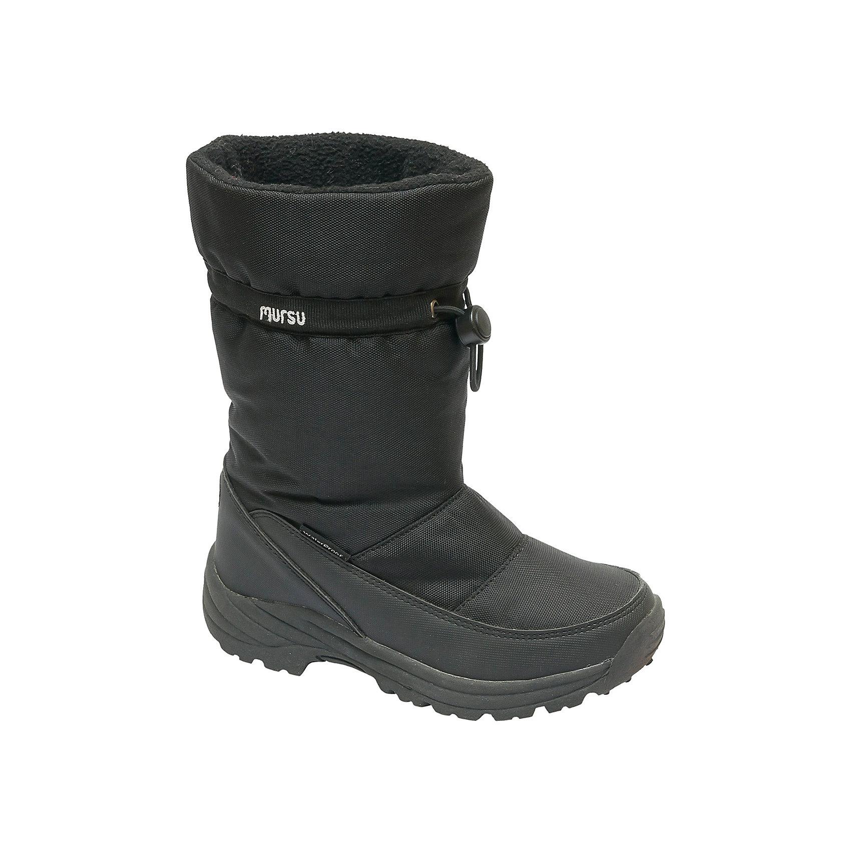 Сапоги для мальчика MURSUСапоги от известного бренда MURSU - удобный и практичный вариант для холодной погоды. Модель имеет толстую подошву, отлично защищающую ноги от холода, выполнена из высококачественных материалов, очень хорошо смотрится на ноге.  Ботинки с усиленным задником затягиваются на кулиску с пластиковым стопором. Верх модели отгибается.<br><br>Дополнительная информация:<br><br>- Сезон: зима/осень.<br>- Тепловой режим: от -5? до -25? <br>- Рифленая подошва.<br>- Тип застежки: кулиска.<br><br>Состав:<br>- Материал верха: текстиль.<br>- Материал подкладки: искусственный мех.<br>- Материал подошвы: TEP.<br>- Материал стельки: искусственный мех.<br><br>Сапоги для мальчика MURSU (Мурсу) можно купить в нашем магазине.<br><br>Ширина мм: 257<br>Глубина мм: 180<br>Высота мм: 130<br>Вес г: 420<br>Цвет: черный<br>Возраст от месяцев: 24<br>Возраст до месяцев: 24<br>Пол: Мужской<br>Возраст: Детский<br>Размер: 25,26,27,29,28<br>SKU: 4202331