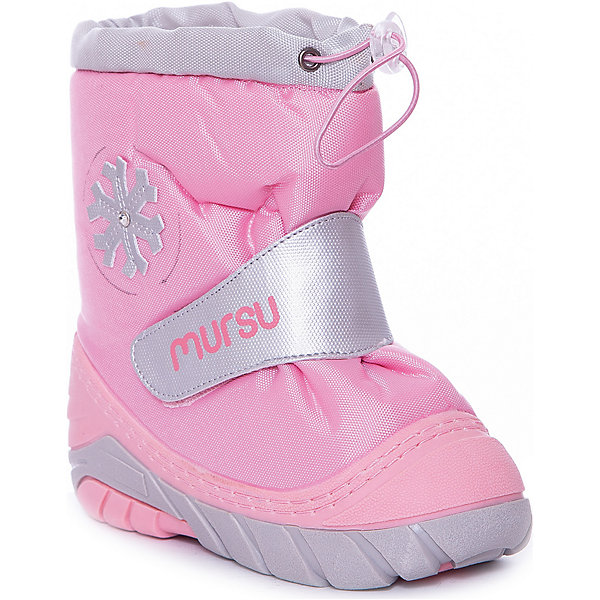 Сапоги для девочки MURSUОбувь<br>Сапоги для девочки от известного финского бренда MURSU - прекрасный вариант на холодную погоду. Модель на рифленой подошве дополнена застежкой-липучкой, декорирована снежинкой. Мягкое голенище затягивается на шнурок с пластиковым стопором. Сапоги выполнены из высококачественных материалов, отлично защищают ноги ребенка от холода и влаги. Идеальный вариант для наших погодных условий. <br><br>Дополнительная информация:<br><br>- Сезон: осень/зима.<br>- Температурный режим: от -5? до -20?<br>- Тип застежки: липучка, шнурок.<br>- Рифленая подошва. <br>- декоративные элементы: снежинка. <br><br>Состав:<br><br>- Материал верха: текстиль / PU.<br>- Материал подкладки: натуральная шерсть.<br>- Материал подошвы: TPR.<br>- Материал стельки: натуральная шерсть.<br><br>Сапоги для девочки, MURSU (Мурсу), можно купить в нашем магазине.<br><br>Ширина мм: 257<br>Глубина мм: 180<br>Высота мм: 130<br>Вес г: 420<br>Цвет: розовый<br>Возраст от месяцев: 24<br>Возраст до месяцев: 36<br>Пол: Женский<br>Возраст: Детский<br>Размер: 25/26,23/24,19/20,21/22<br>SKU: 4202374