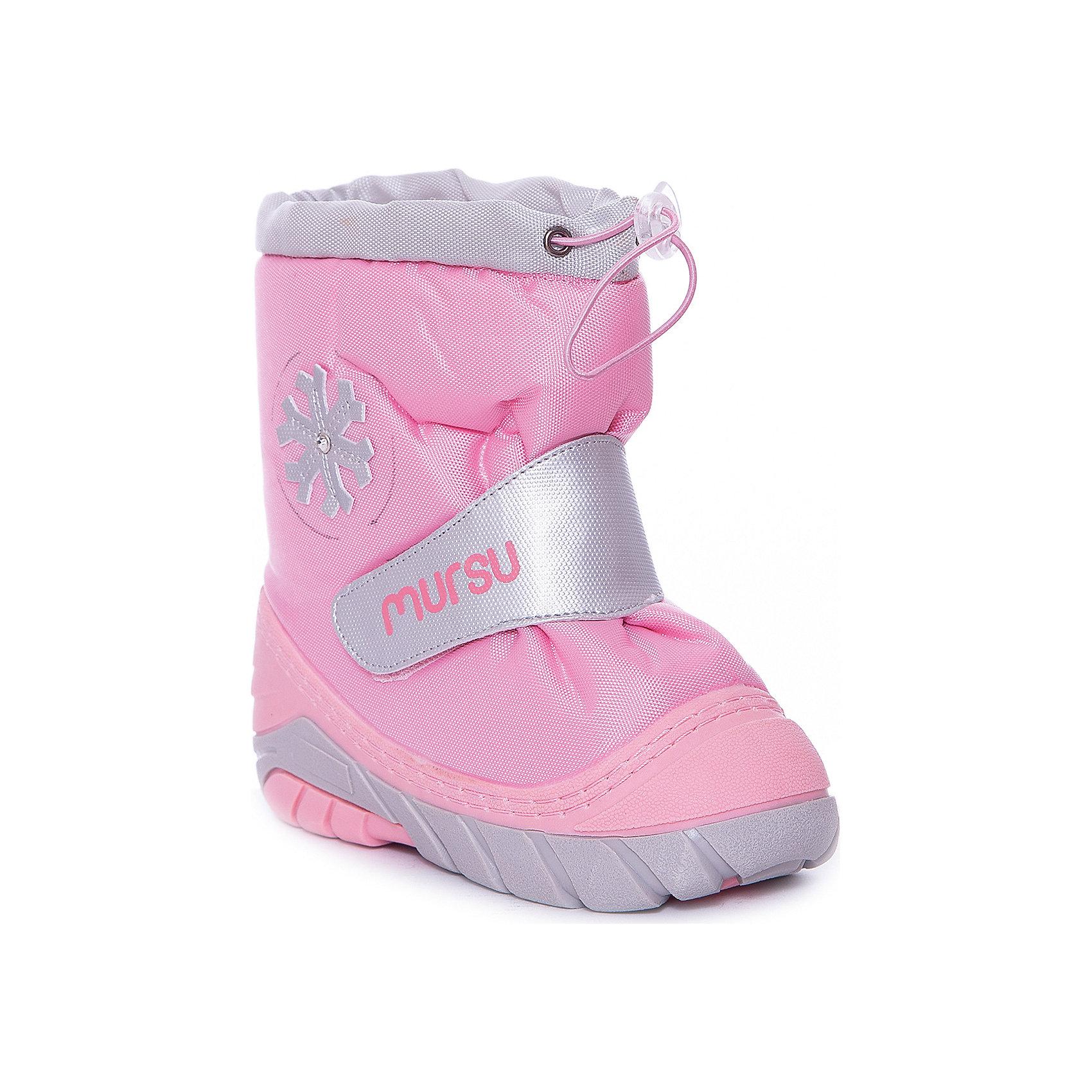 Сапоги для девочки MURSUСапоги для девочки от известного финского бренда MURSU - прекрасный вариант на холодную погоду. Модель на рифленой подошве дополнена застежкой-липучкой, декорирована снежинкой. Мягкое голенище затягивается на шнурок с пластиковым стопором. Сапоги выполнены из высококачественных материалов, отлично защищают ноги ребенка от холода и влаги. Идеальный вариант для наших погодных условий. <br><br>Дополнительная информация:<br><br>- Сезон: осень/зима.<br>- Температурный режим: от -5? до -20?<br>- Тип застежки: липучка, шнурок.<br>- Рифленая подошва. <br>- декоративные элементы: снежинка. <br><br>Состав:<br><br>- Материал верха: текстиль / PU.<br>- Материал подкладки: натуральная шерсть.<br>- Материал подошвы: TPR.<br>- Материал стельки: натуральная шерсть.<br><br>Сапоги для девочки, MURSU (Мурсу), можно купить в нашем магазине.<br><br>Ширина мм: 257<br>Глубина мм: 180<br>Высота мм: 130<br>Вес г: 420<br>Цвет: розовый<br>Возраст от месяцев: 24<br>Возраст до месяцев: 36<br>Пол: Женский<br>Возраст: Детский<br>Размер: 21/22,23/24,25/26,19/20<br>SKU: 4202374